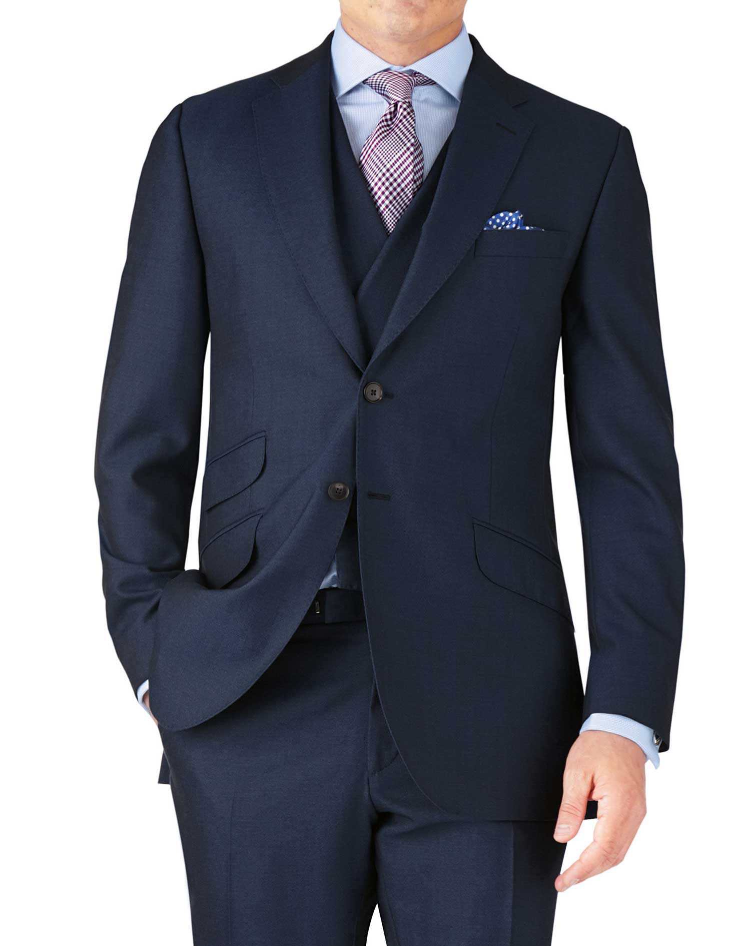 Blue Classic Fit British Panama Luxury Suit Wool Jacket Size 40 Long by Charles Tyrwhitt
