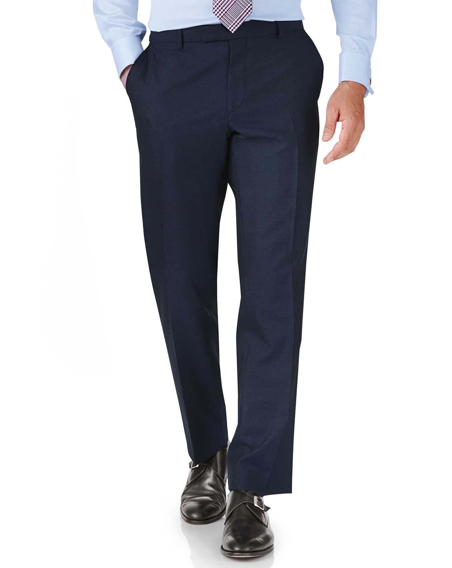 Blue Classic Fit British Panama Luxury Suit Trouser Size W34 L32 by Charles Tyrwhitt