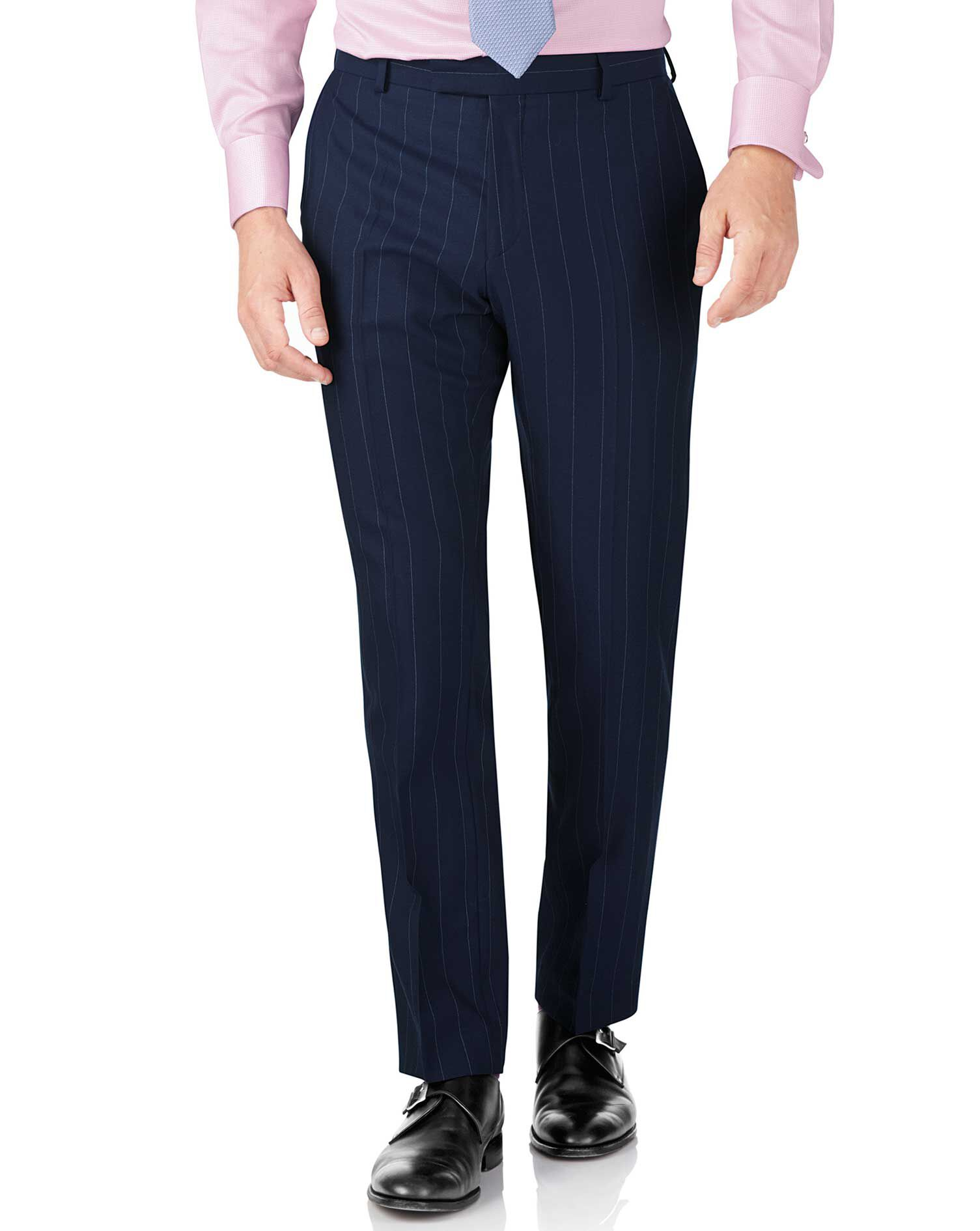 Navy Stripe Slim Fit British Serge Luxury Suit Trousers Size W40 L38 by Charles Tyrwhitt