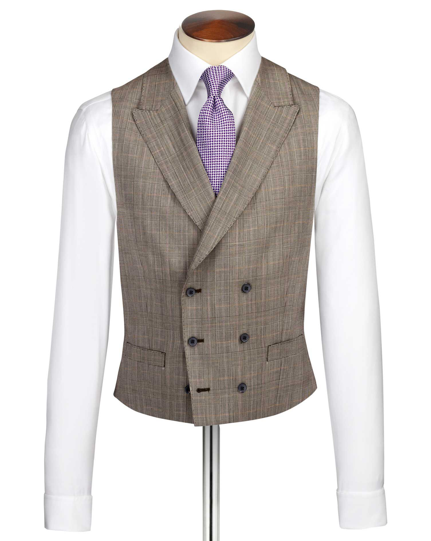 1920s Mens Clothing Charles Tyrwhitt Beige British Panama Luxury Check Suit Wool Waistcoat Size w42 £80.00 AT vintagedancer.com