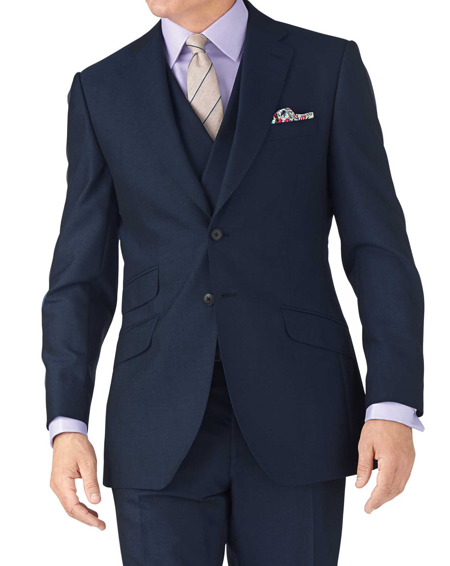 Blue Slim Fit British Panama Luxury Suit Wool Jacket Size 36 Short by Charles Tyrwhitt