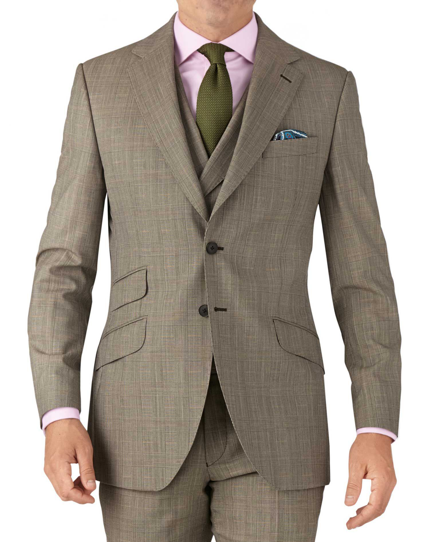 Beige Slim Fit British Panama Luxury Check Suit Wool Jacket Size 36 Regular by Charles Tyrwhitt
