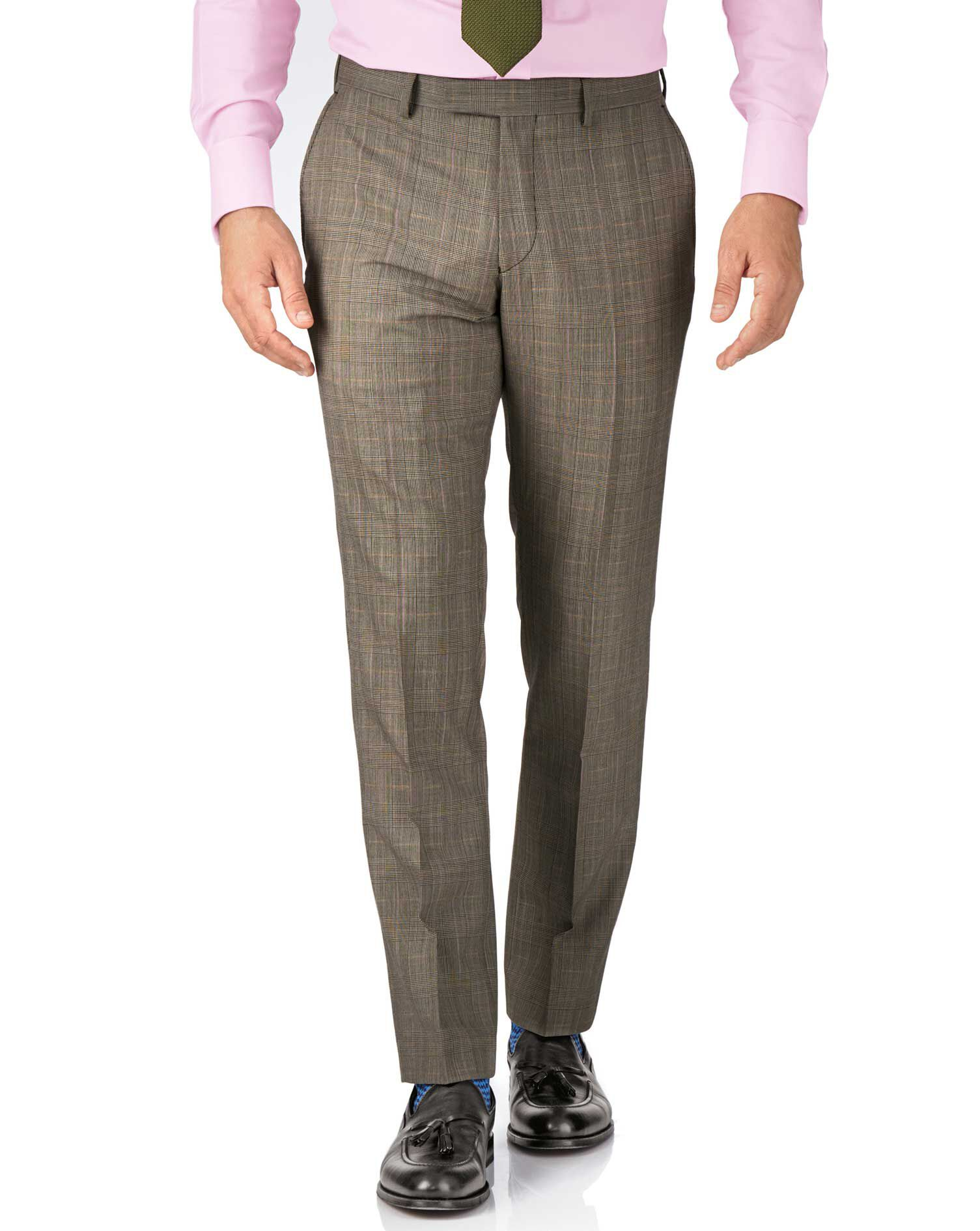 Beige Slim Fit British Panama Luxury Check Suit Trouser Size W38 L32 by Charles Tyrwhitt