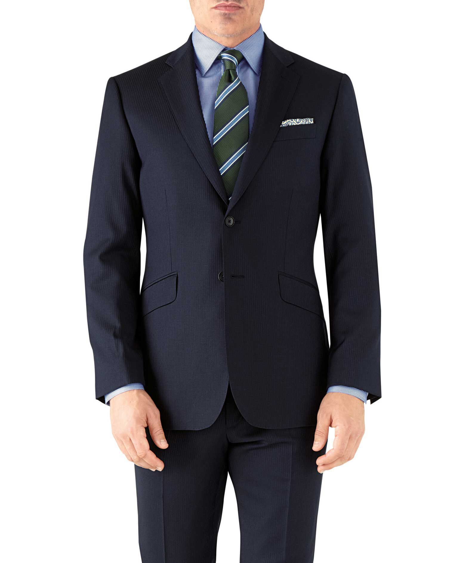 Navy Herringbone Classic Fit Italian Suit Wool Jacket Size 44 Short by Charles Tyrwhitt