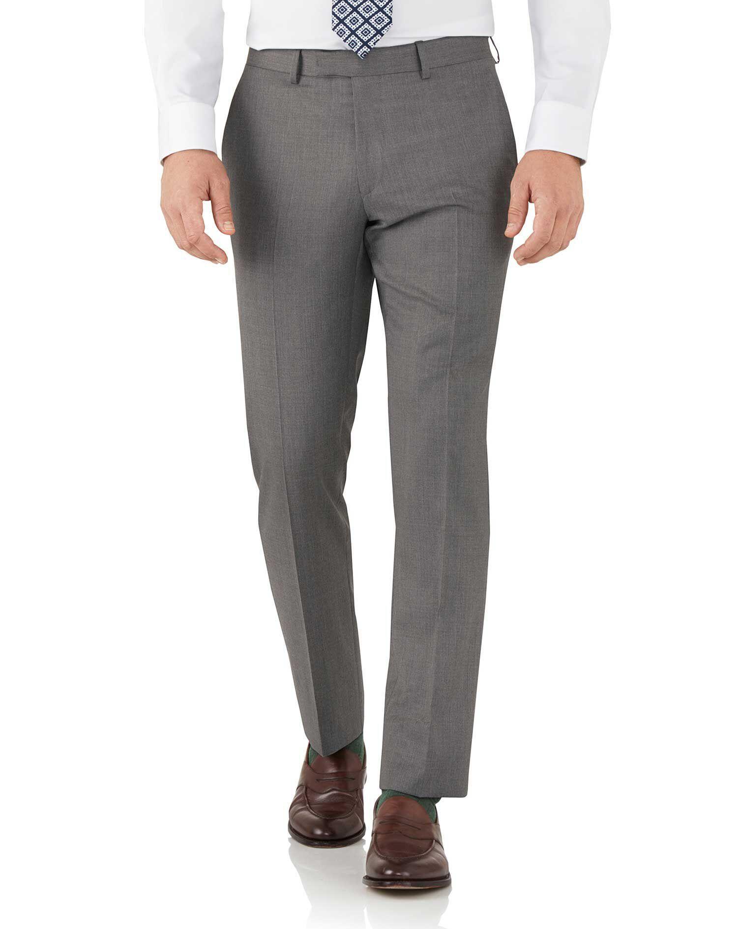 Grey Slim Fit Italian Suit Trousers Size W40 L32 by Charles Tyrwhitt