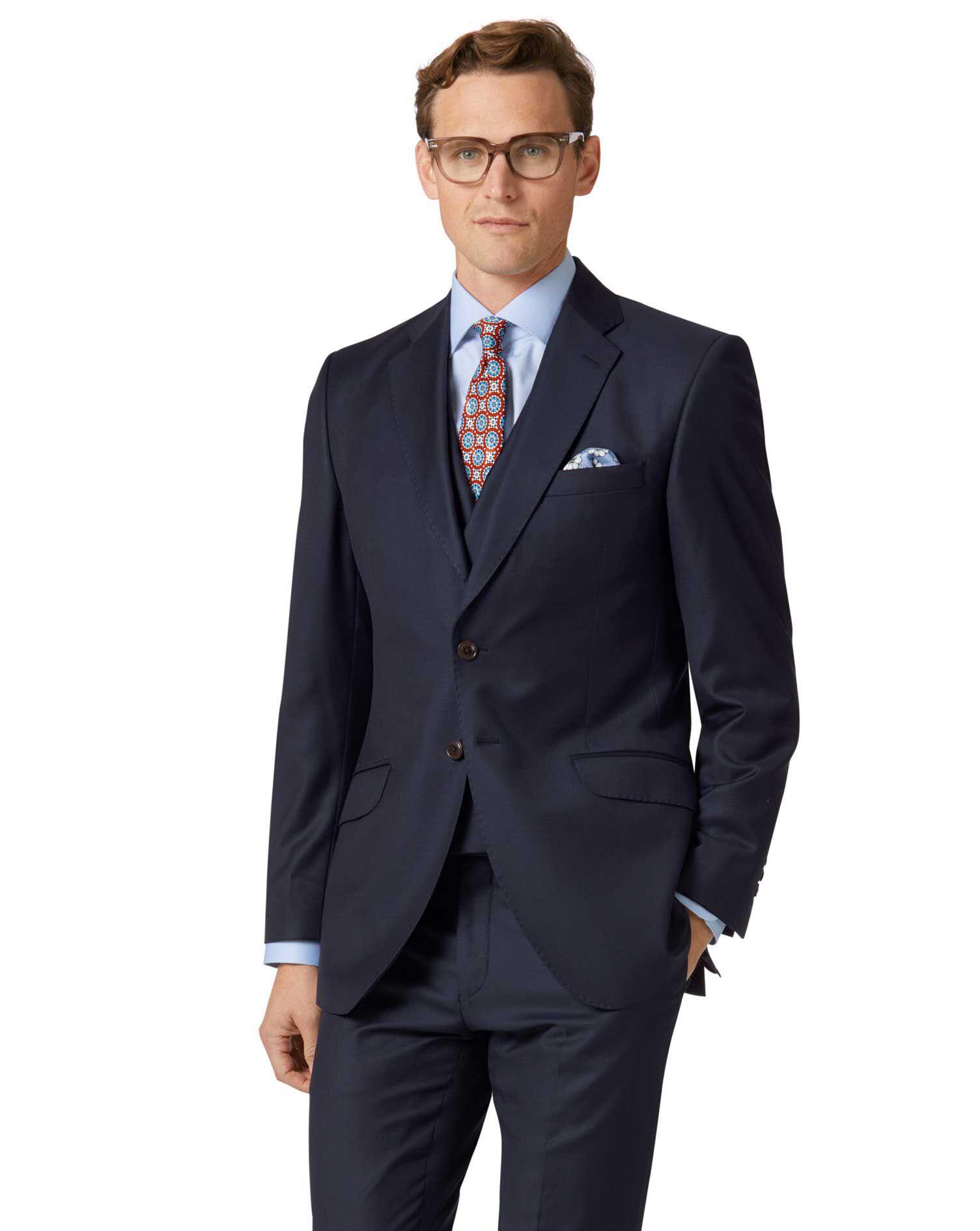 Navy Slim Fit Italian Twill Luxury Suit Wool Jacket Size 40 Long by Charles Tyrwhitt