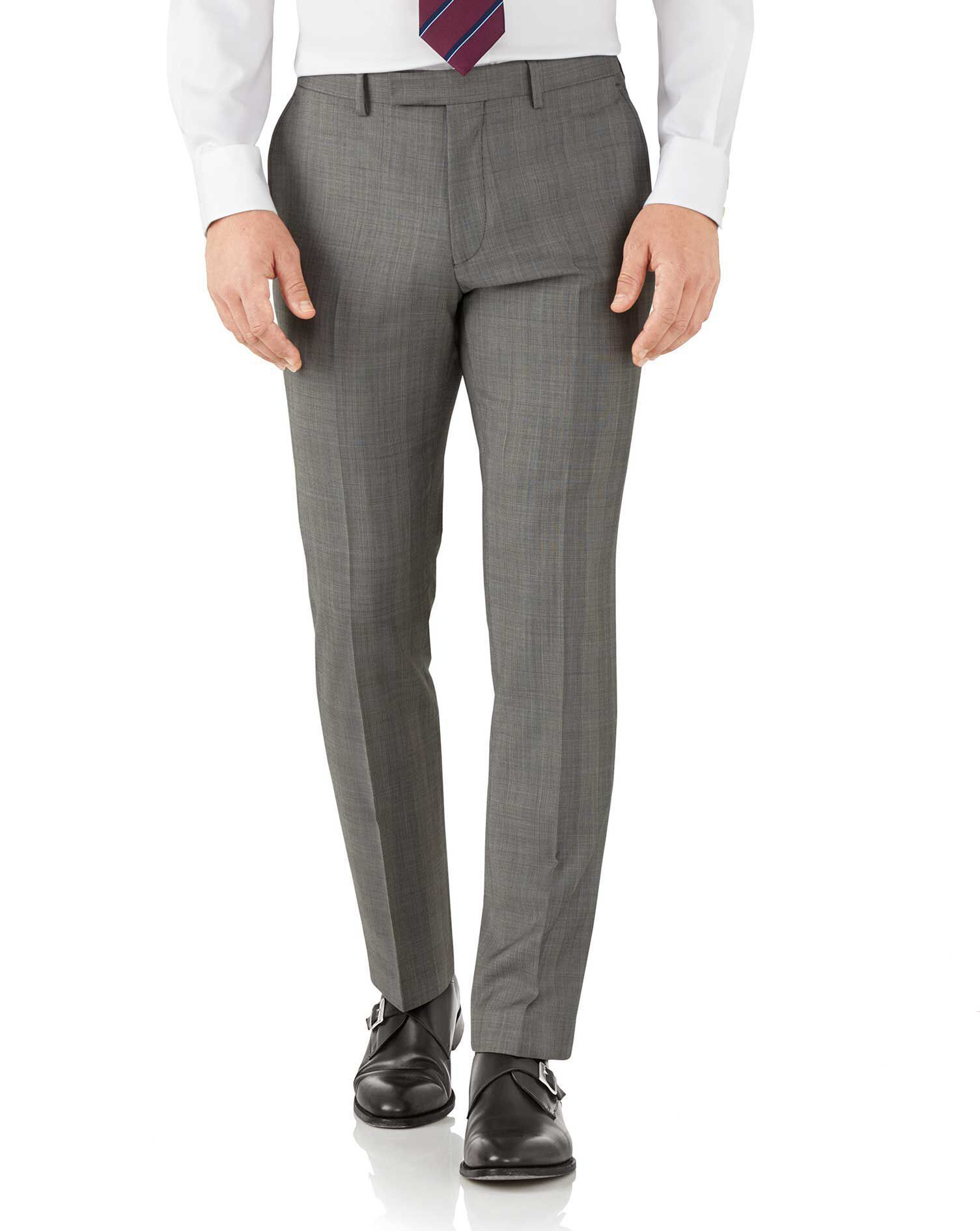 Silver Slim Fit Italian Sharkskin Luxury Check Suit Trousers Size W32 L30 by Charles Tyrwhitt