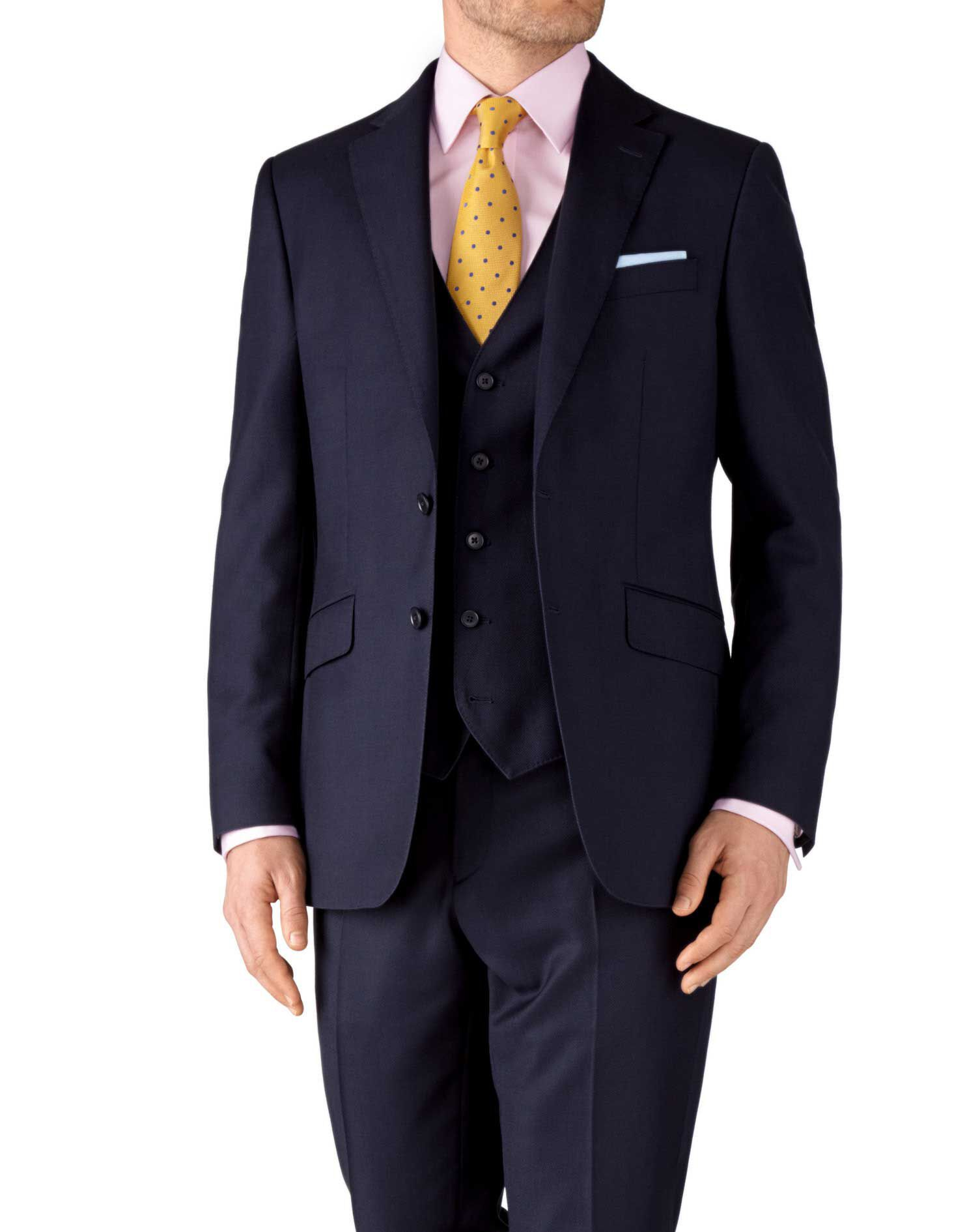 Navy Classic Fit Birdseye Travel Suit Wool Jacket Size 40 Long by Charles Tyrwhitt