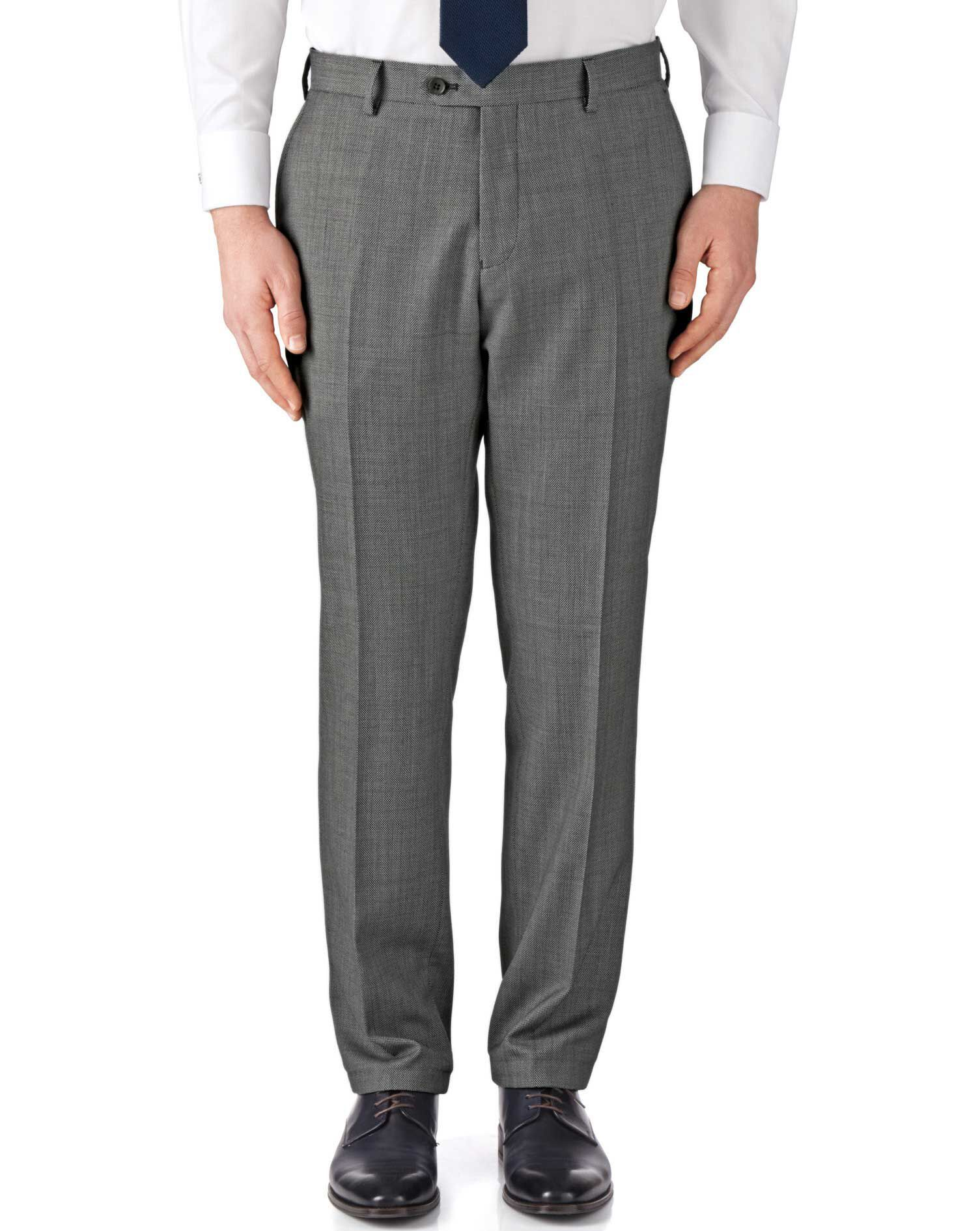 Grey Classic Fit Birdseye Travel Suit Trousers Size W32 L30 by Charles Tyrwhitt