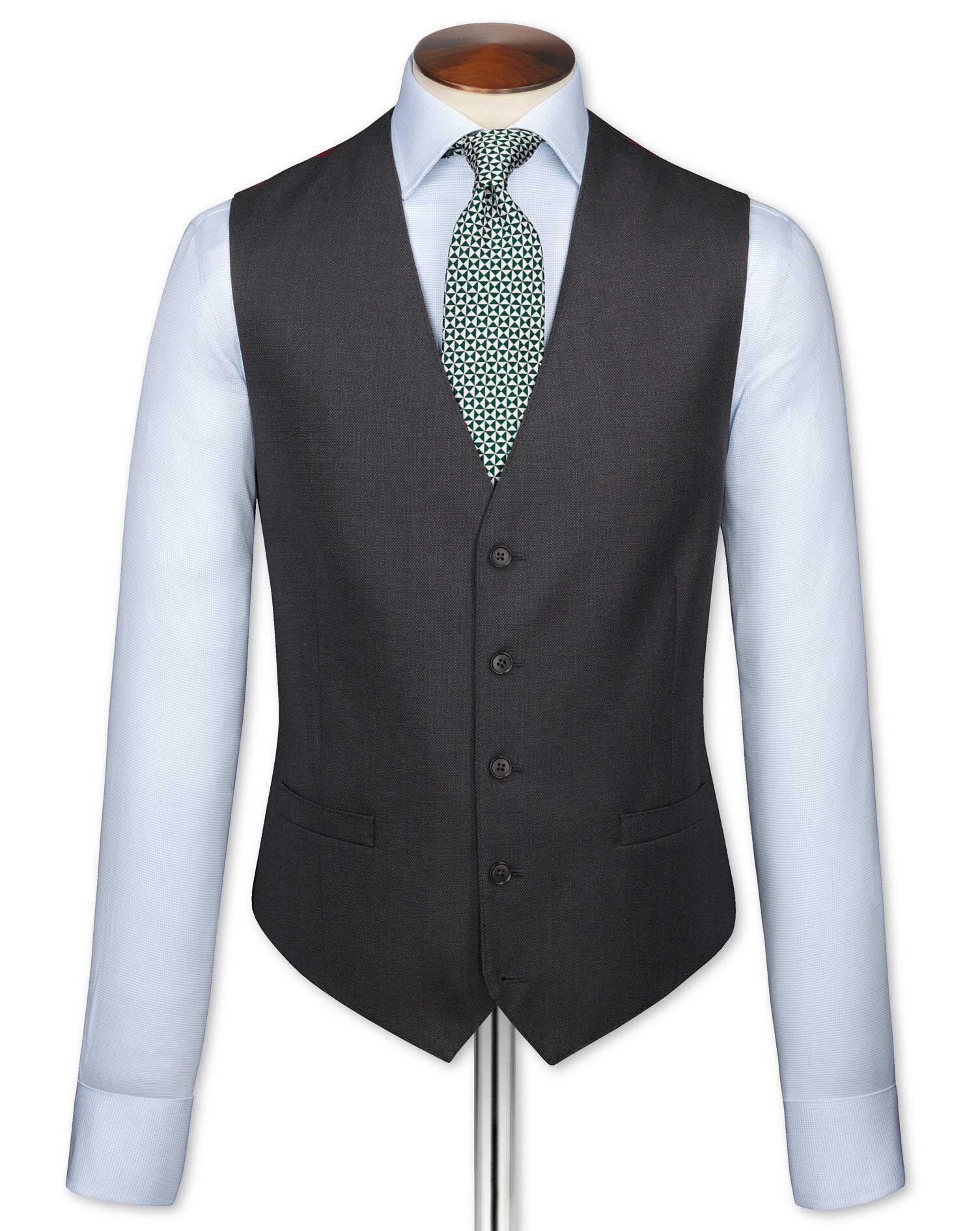 Charcoal Adjustable Fit Birdseye Travel Suit Wool Waistcoat Size w36 by Charles Tyrwhitt