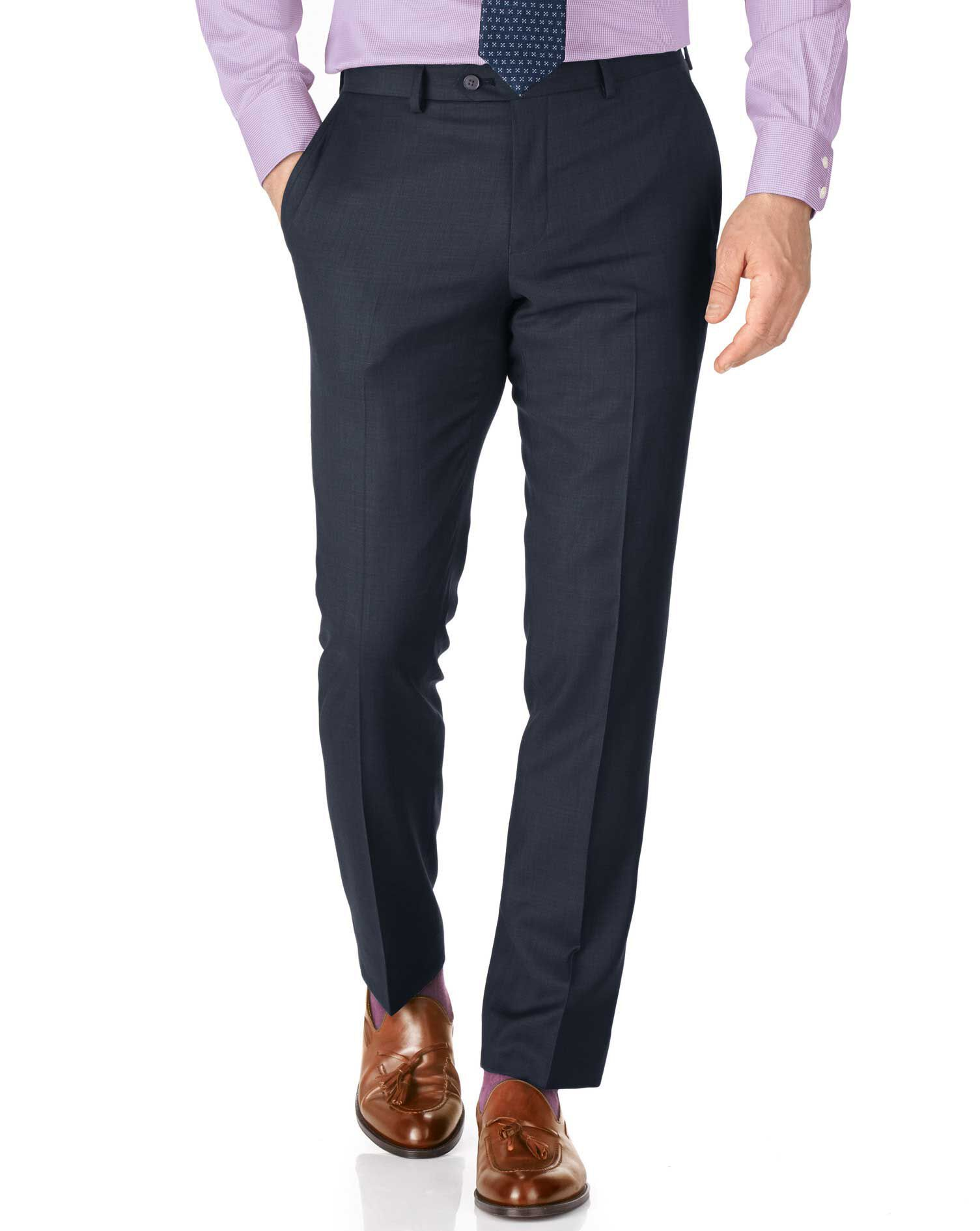 Blue Slim Fit Sharkskin Travel Suit Trousers Size W36 L34 by Charles Tyrwhitt