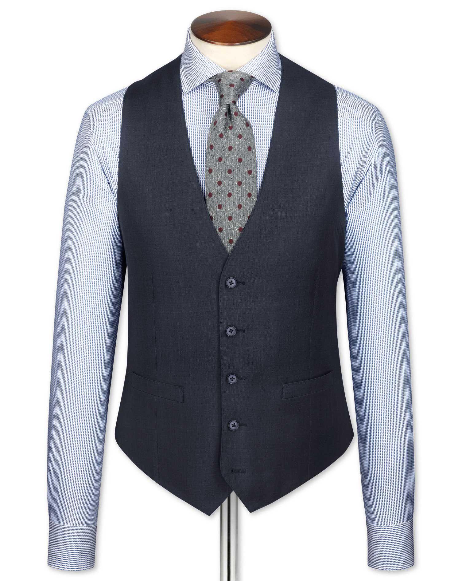 Blue Sharkskin Travel Suit Wool Waistcoat Size w38 by Charles Tyrwhitt