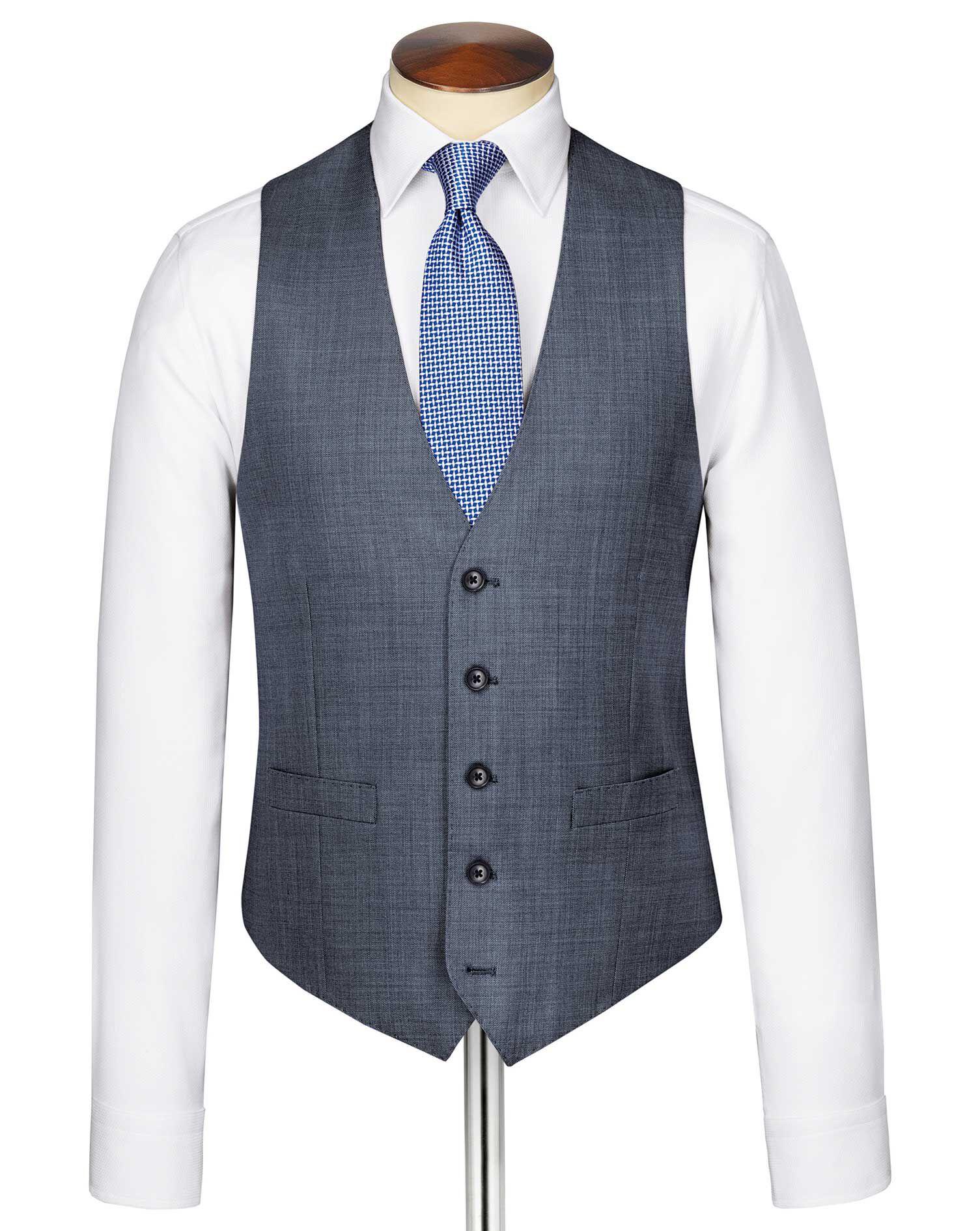 Light Blue Sharkskin Travel Suit Wool Waistcoat Size w36 by Charles Tyrwhitt