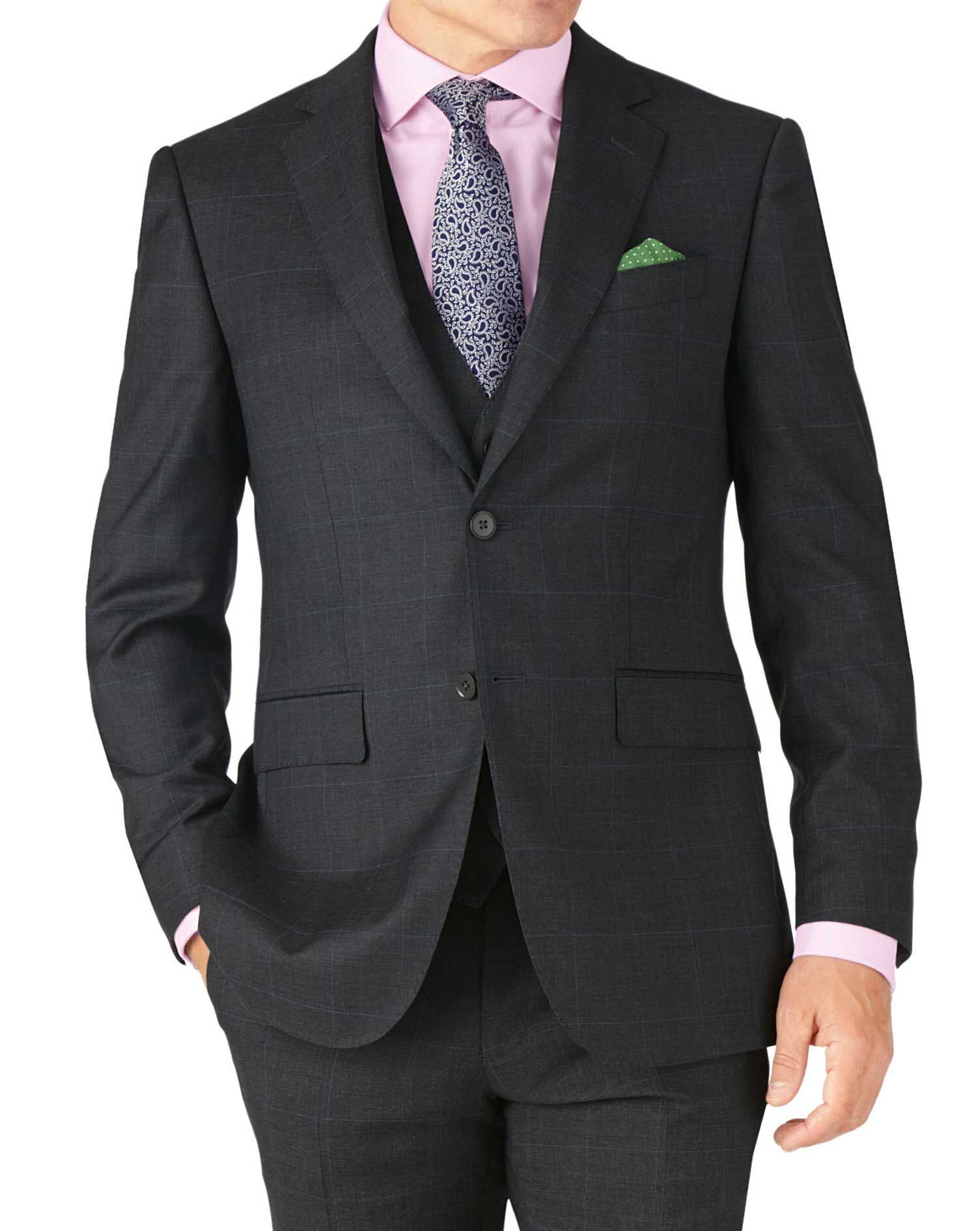 Charcoal Slim Fit Sharkskin Travel Suit Wool Jacket Size 36 Short by Charles Tyrwhitt