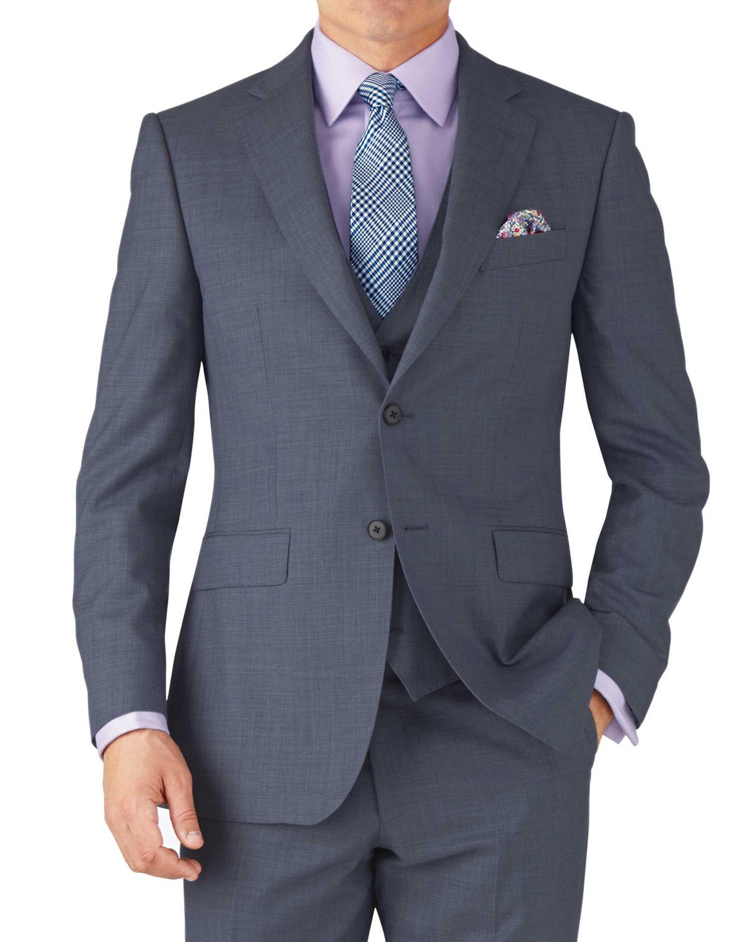 Light Blue Classic Fit Sharkskin Travel Suit Wool Jacket Size 38 Regular by Charles Tyrwhitt