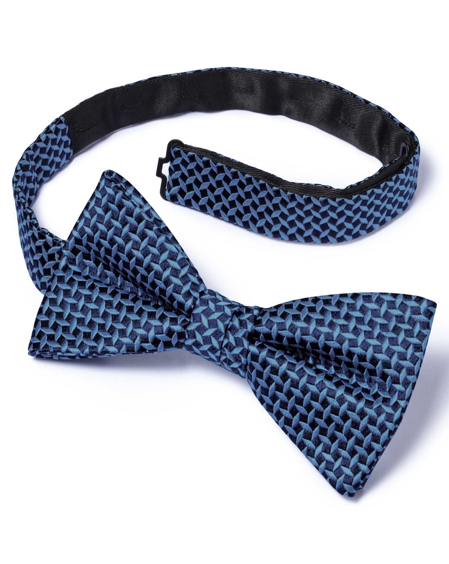 Blue Silk Diamond Lattice Classic Ready-Tied Bow Tie Size OSFA by Charles Tyrwhitt