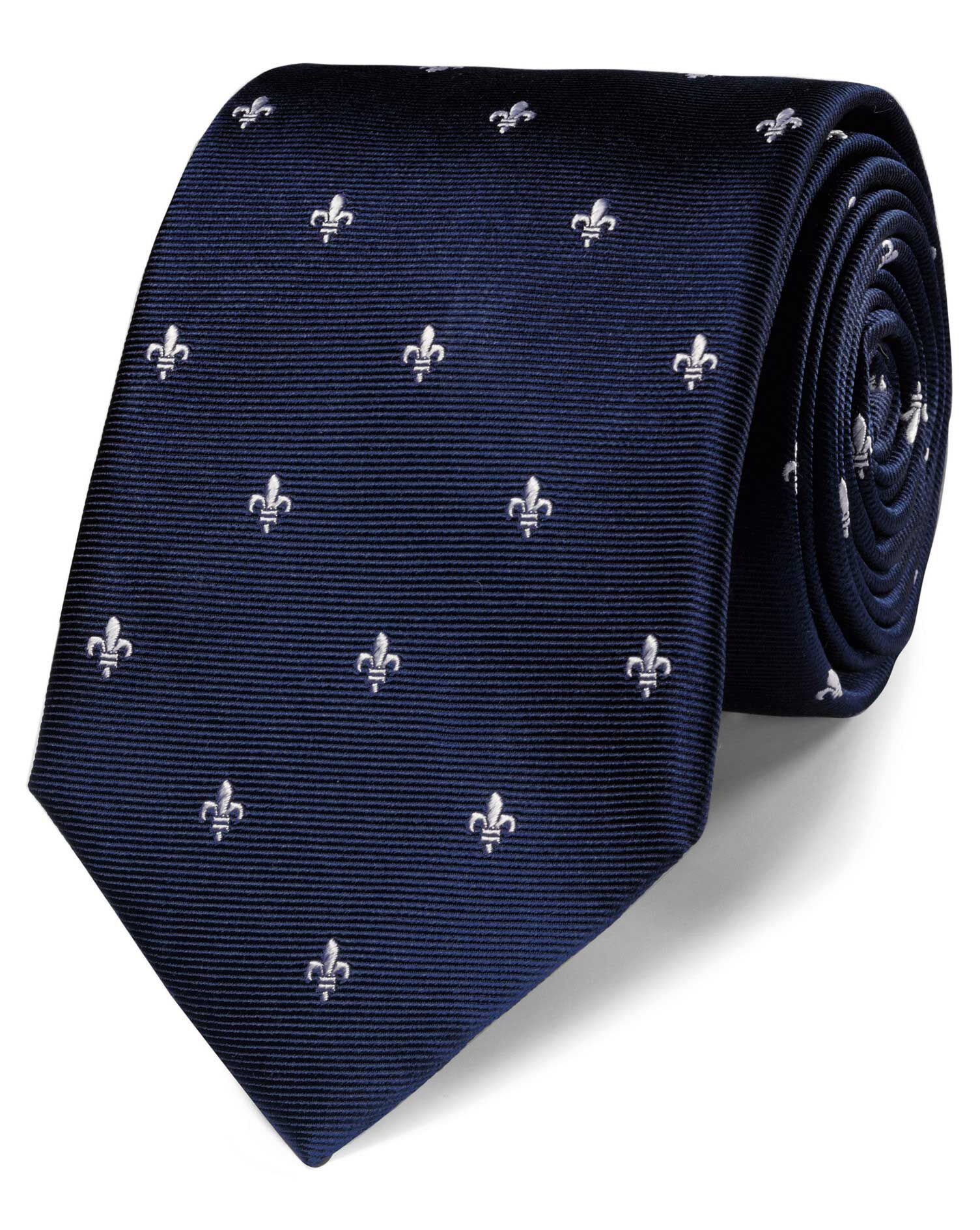 Navy Silk Fleur-De-Lys Classic Tie Size OSFA by Charles Tyrwhitt