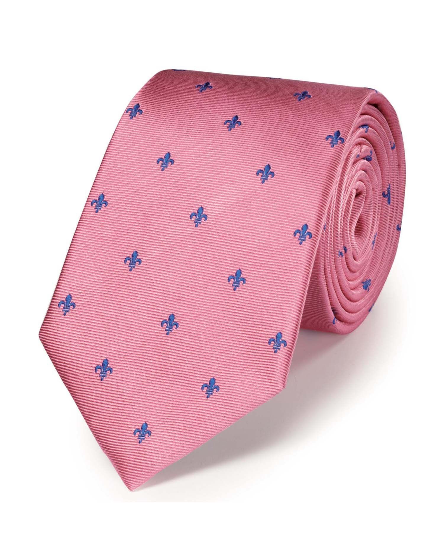 Pink and Royal Blue Silk Classic Fleur-De-Lys Tie Size OSFA by Charles Tyrwhitt