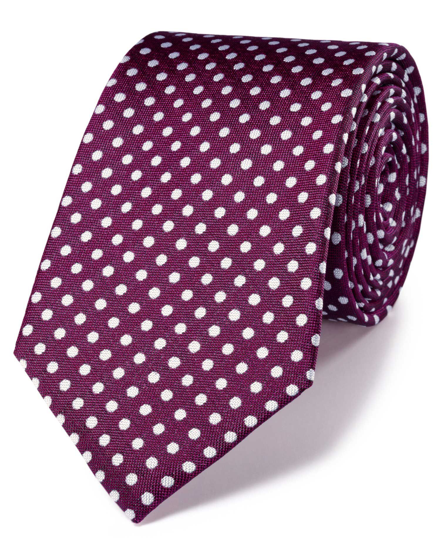Magenta and White Silk Classic Oxford Spot Tie Size OSFA by Charles Tyrwhitt