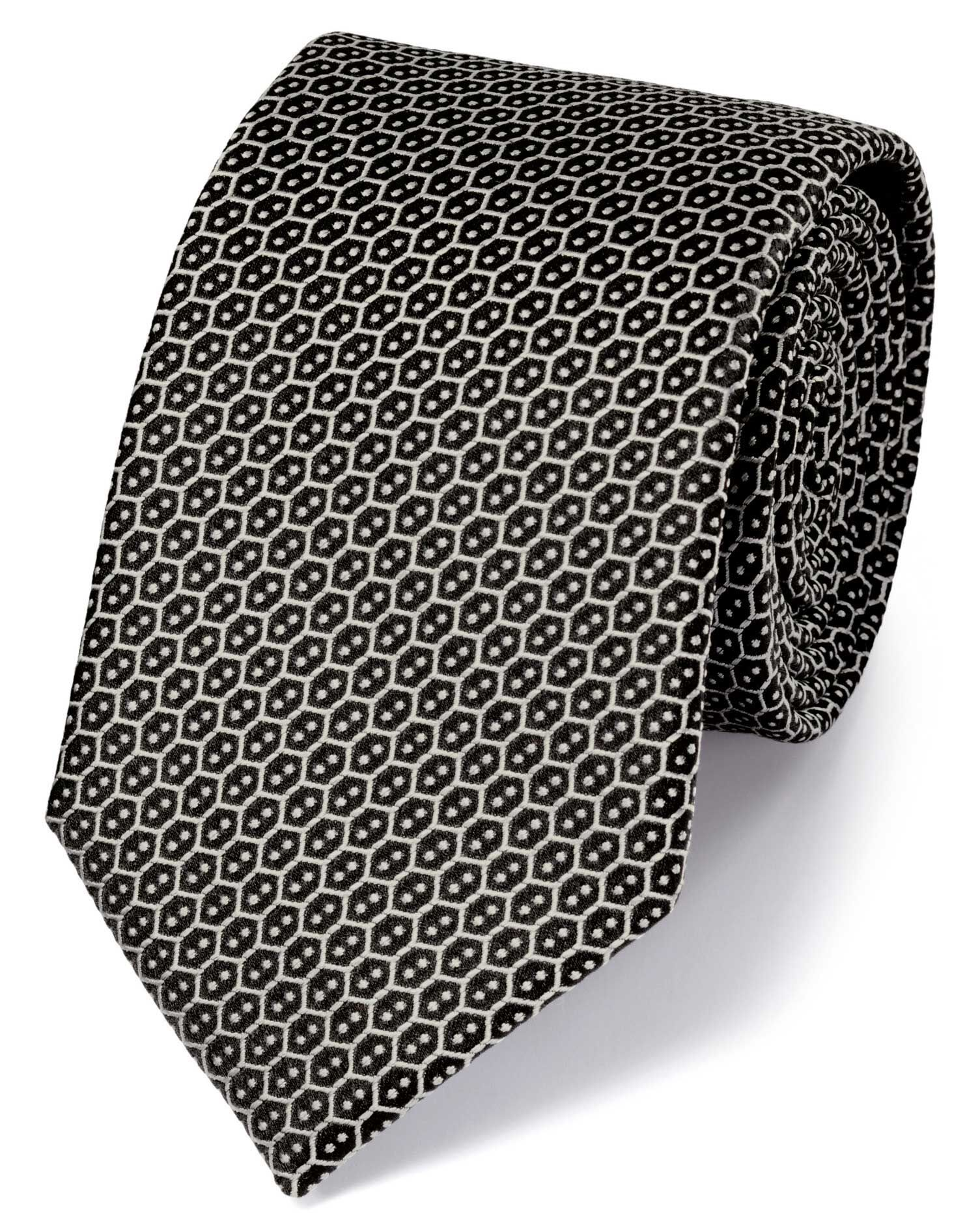 Black Silk Wire Lattice Classic Tie Size OSFA by Charles Tyrwhitt