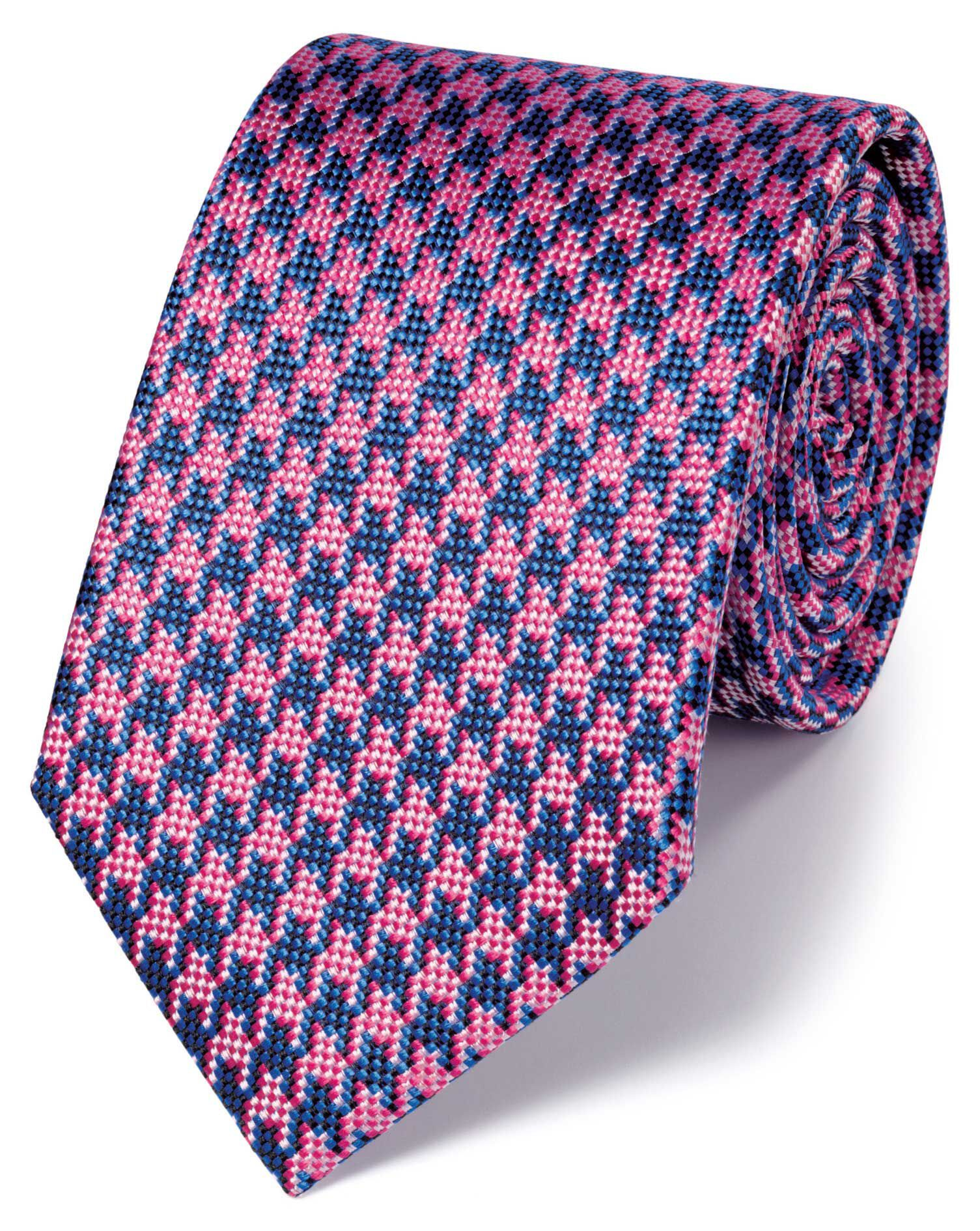 Royal and Pink Silk Houndstooth Classic Tie Size OSFA by Charles Tyrwhitt