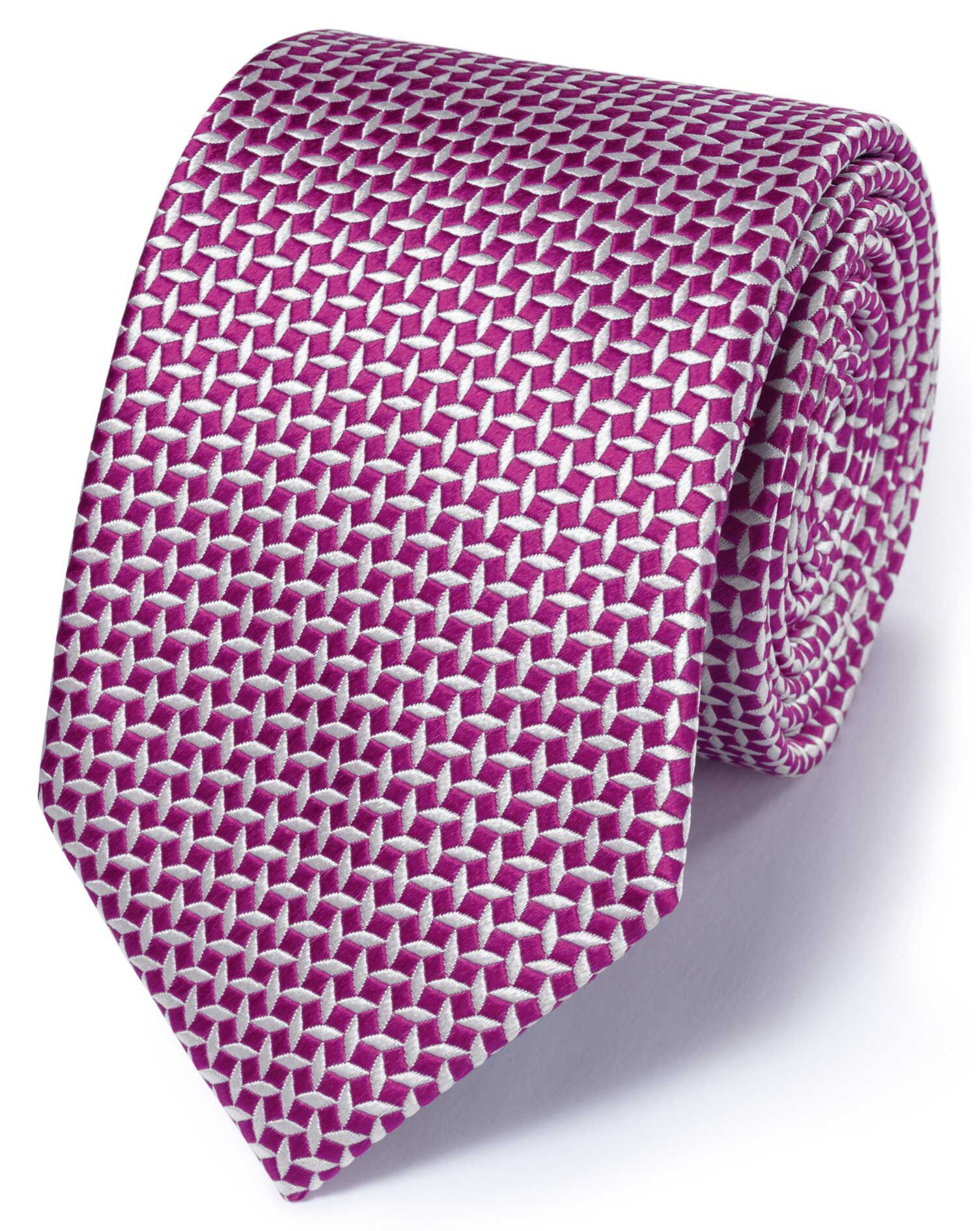 Fuchsia Silk Classic Diamond Lattice Tie Size OSFA by Charles Tyrwhitt