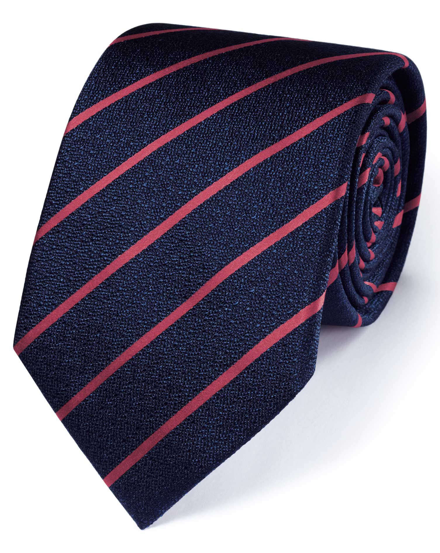 Navy and Coral Silk Classic Textured Stripe Tie Size OSFA by Charles Tyrwhitt