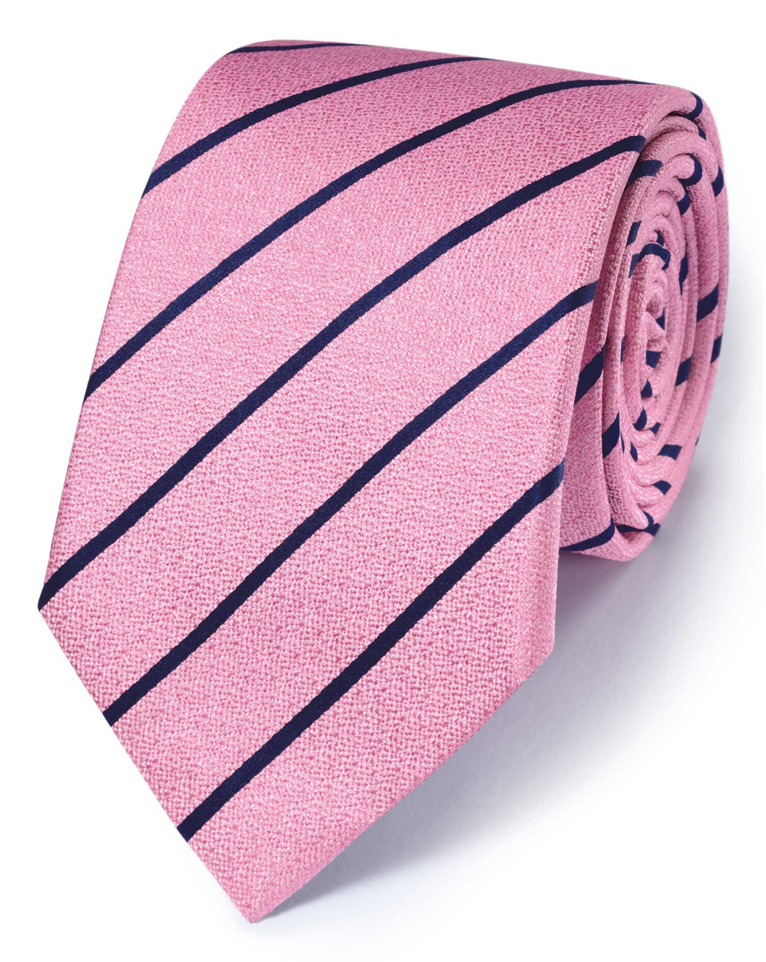 Pink and Navy Silk Classic Textured Stripe Tie Size OSFA by Charles Tyrwhitt