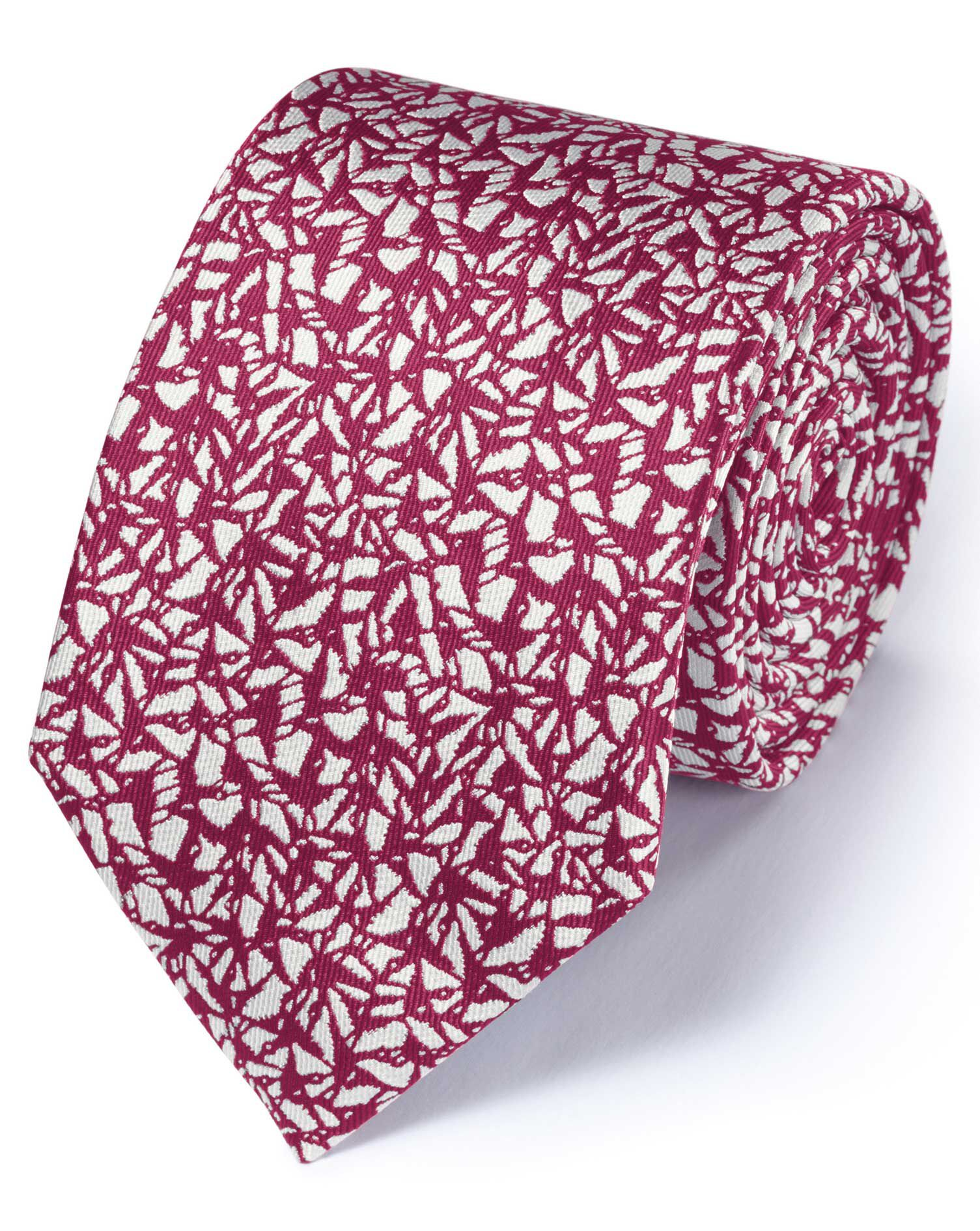 Magenta Silk Classic Abstract Texture Tie Size OSFA by Charles Tyrwhitt