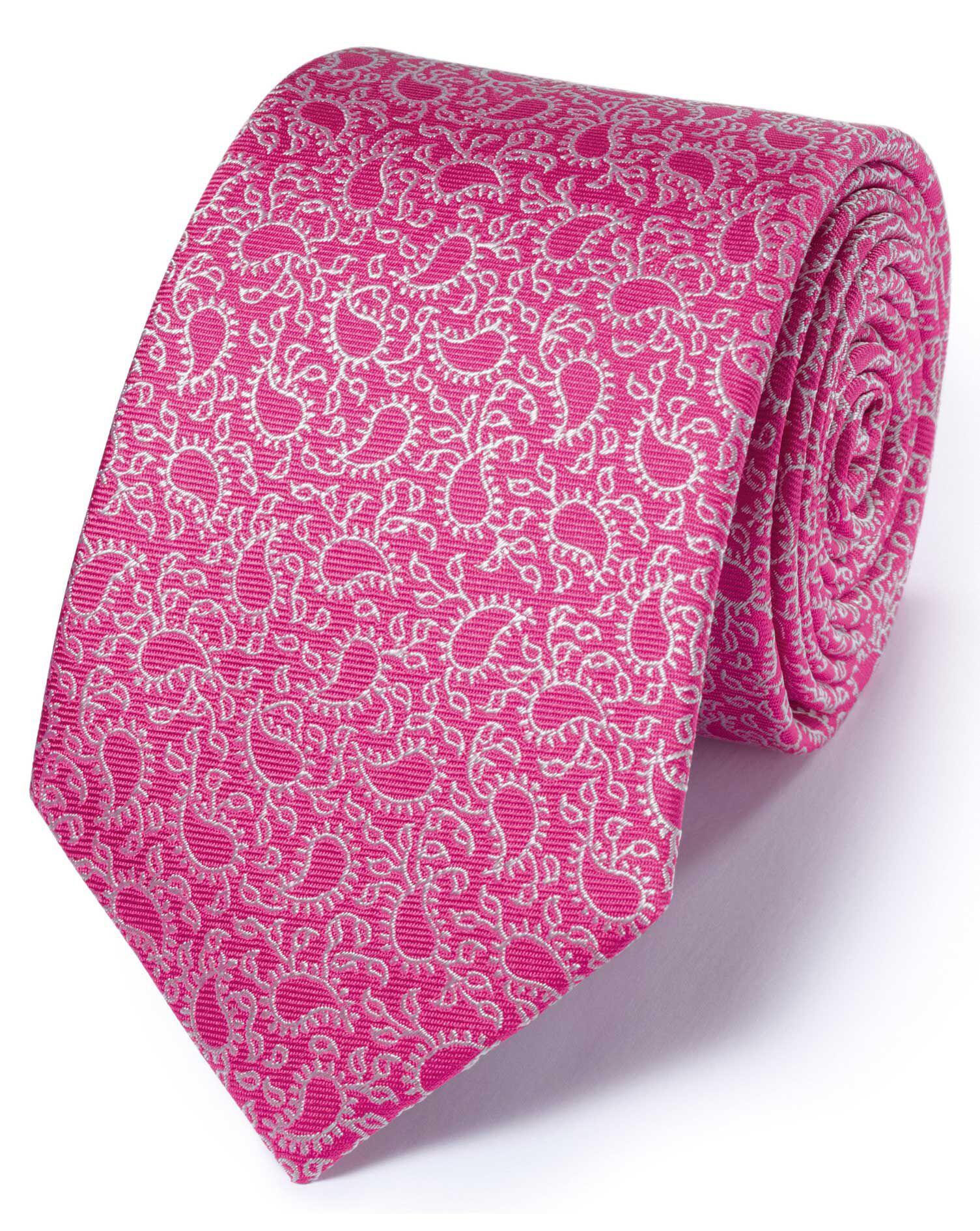 Dark Pink Silk Classic Paisley Tie Size OSFA by Charles Tyrwhitt