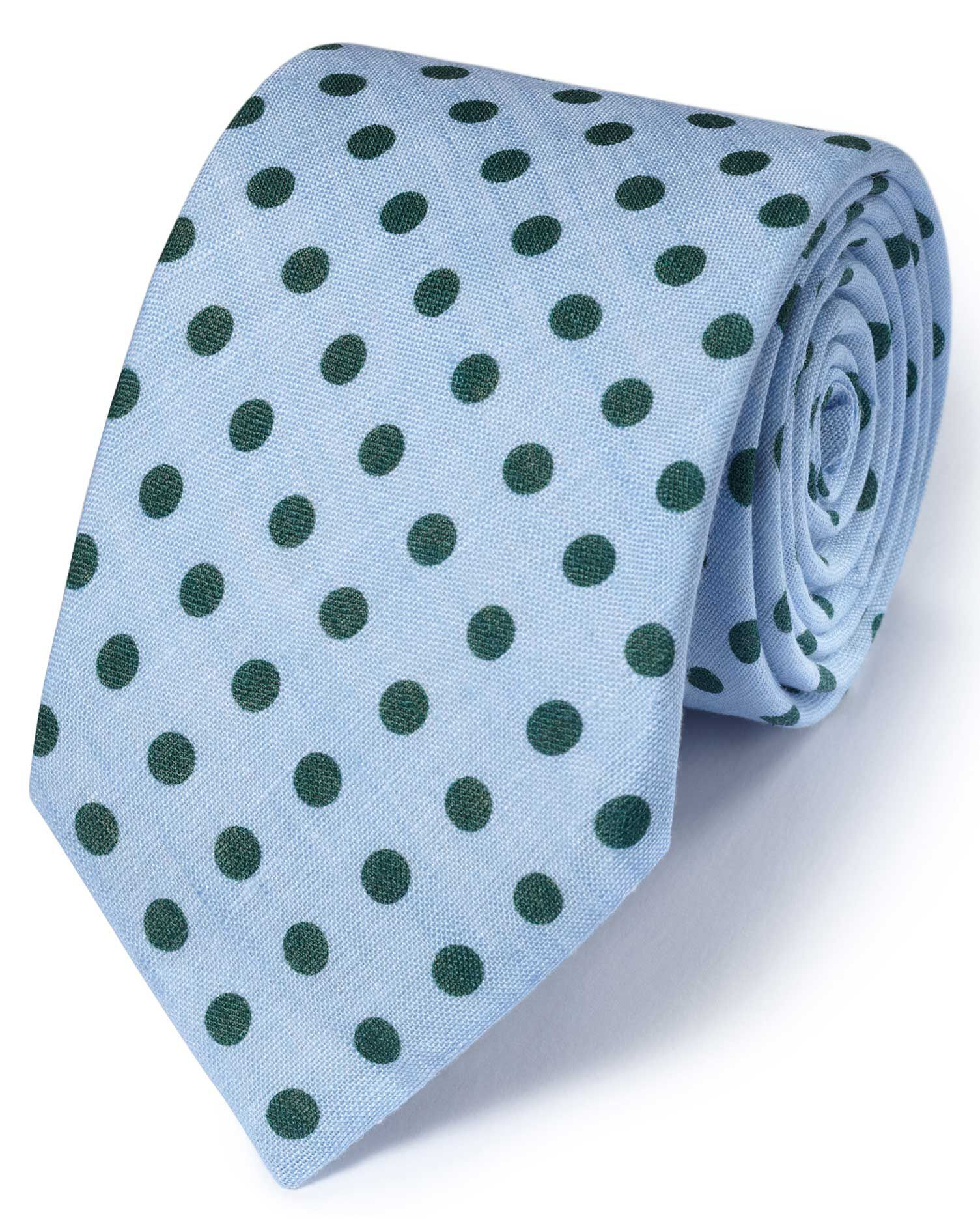 Sky and Green Linen Classic Chambray Tie Size OSFA by Charles Tyrwhitt