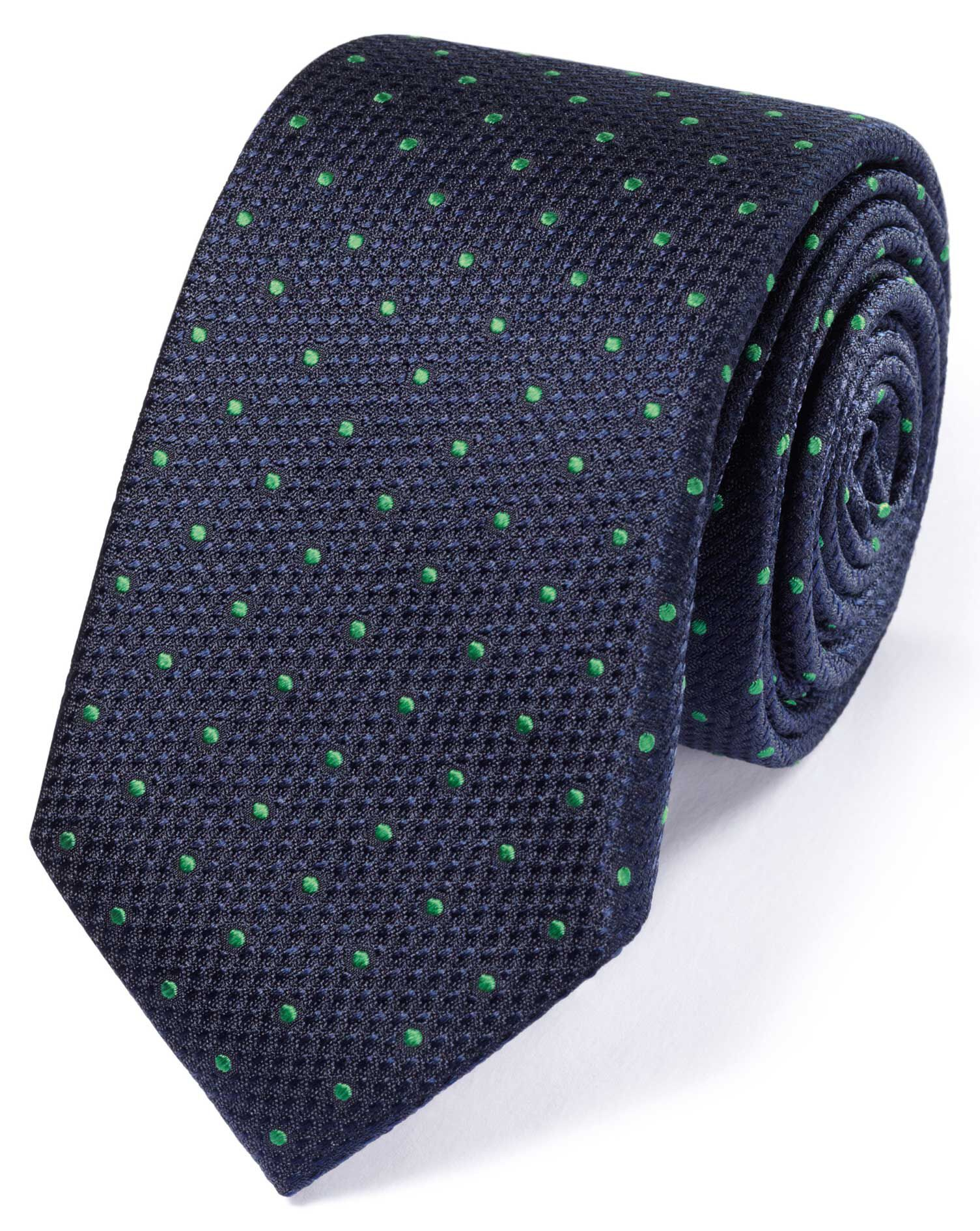 Slim Navy and Green Silk Classic Textured Spot Tie Size OSFA by Charles Tyrwhitt