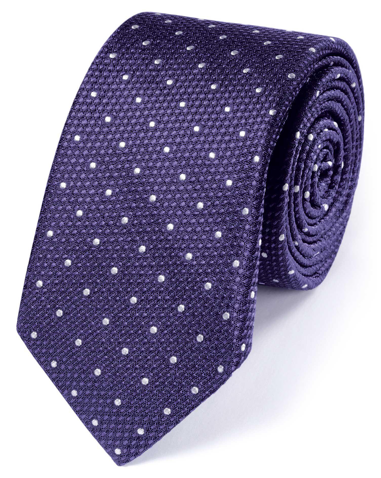 Slim Purple Silk Classic Textured Spot Tie Size OSFA by Charles Tyrwhitt
