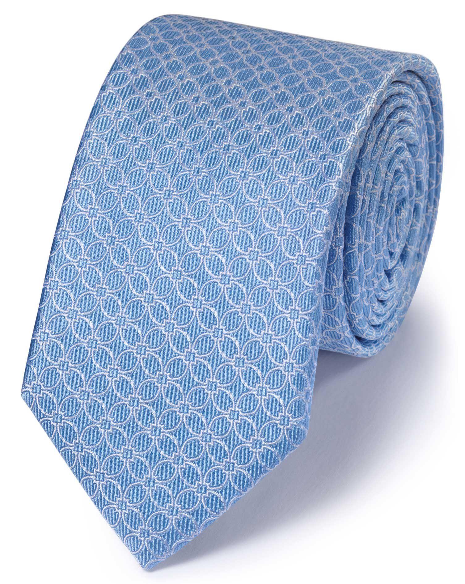 Slim Sky Silk Classic Geometric Floral Tie Size OSFA by Charles Tyrwhitt