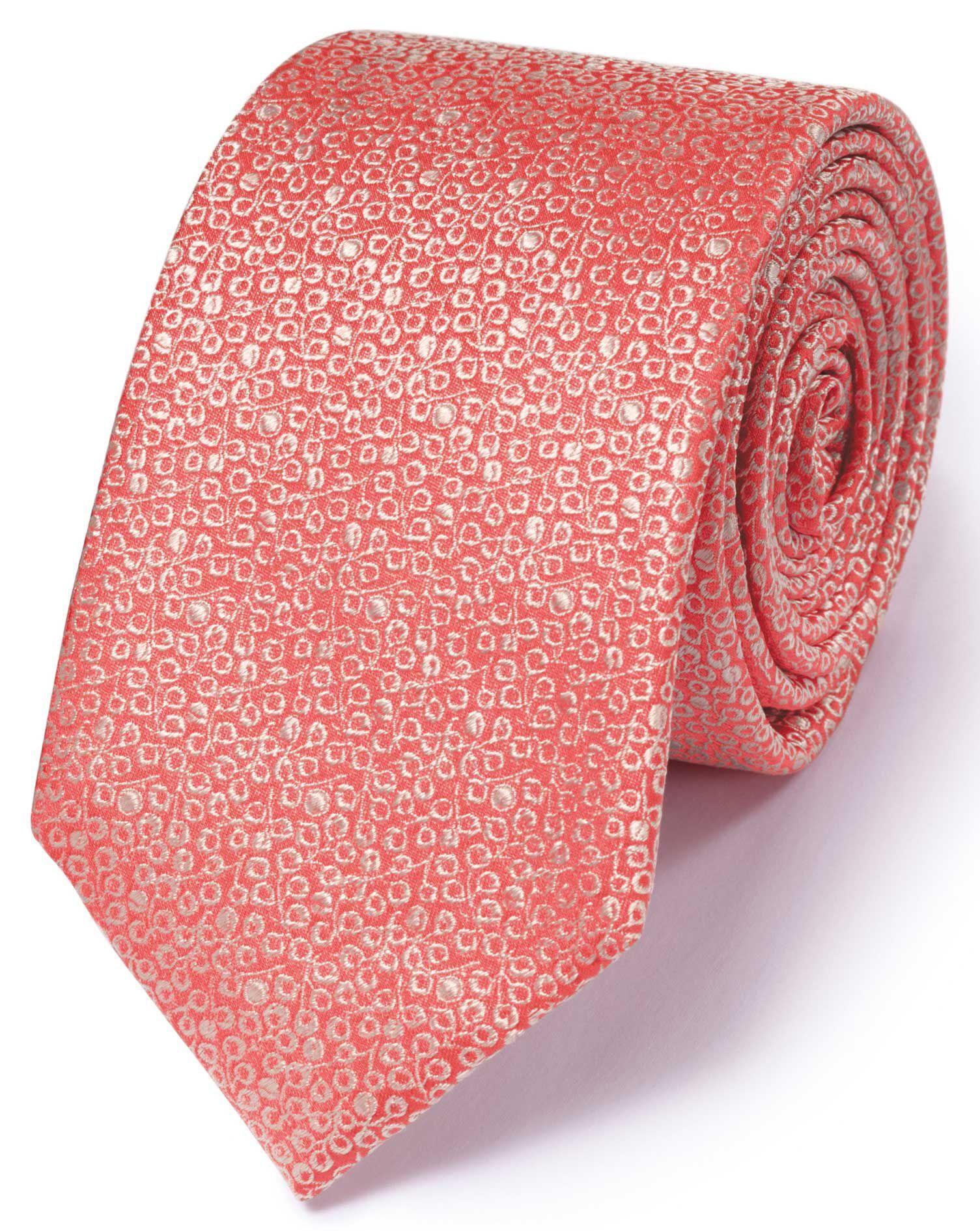 Slim Coral Silk Classic Mini Floral Tie Size OSFA by Charles Tyrwhitt