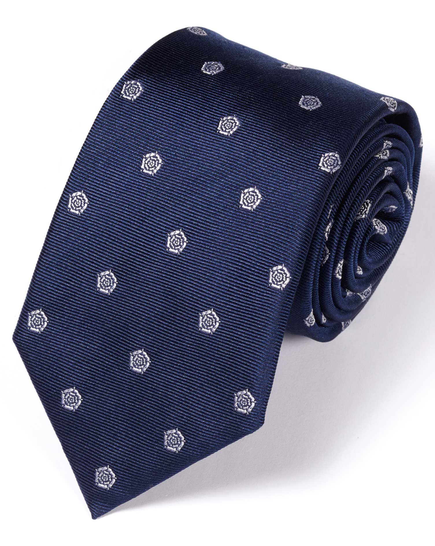 Navy and White Silk English Rose Classic Tie Size OSFA by Charles Tyrwhitt