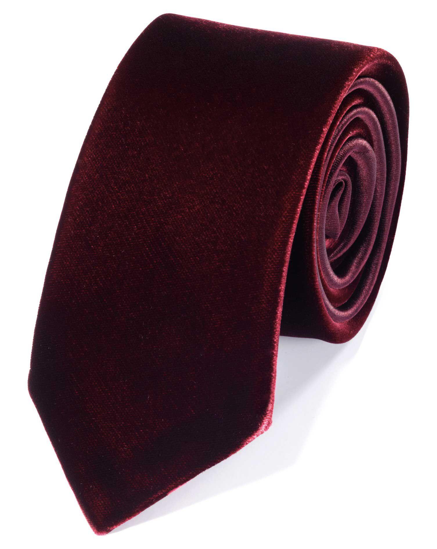 Burgundy Cotton Luxury Velvet Slim Tie Size OSFA by Charles Tyrwhitt