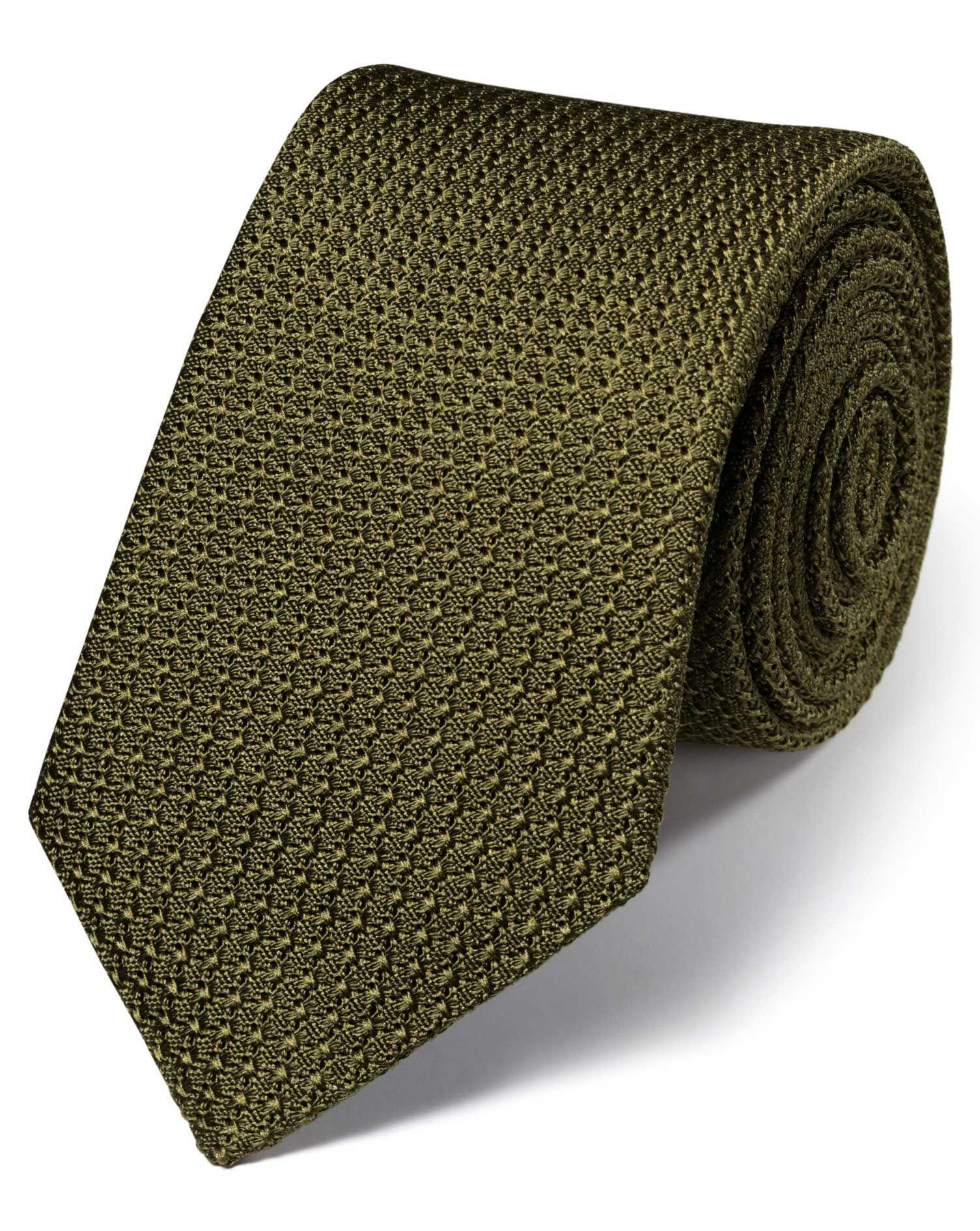 Khaki Silk Plain Grenadine Italian Luxury Tie Size OSFA by Charles Tyrwhitt