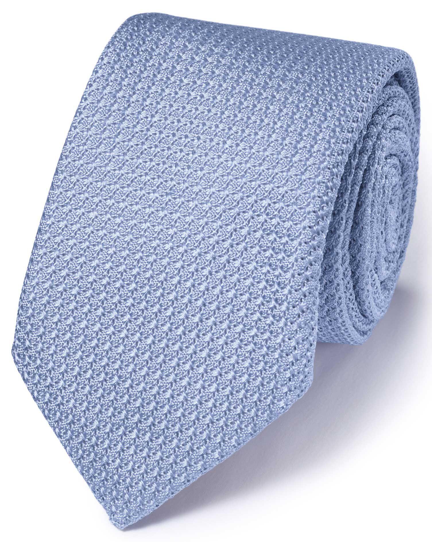 Sky Silk Italian Luxury Plain Grenadine Tie Size OSFA by Charles Tyrwhitt
