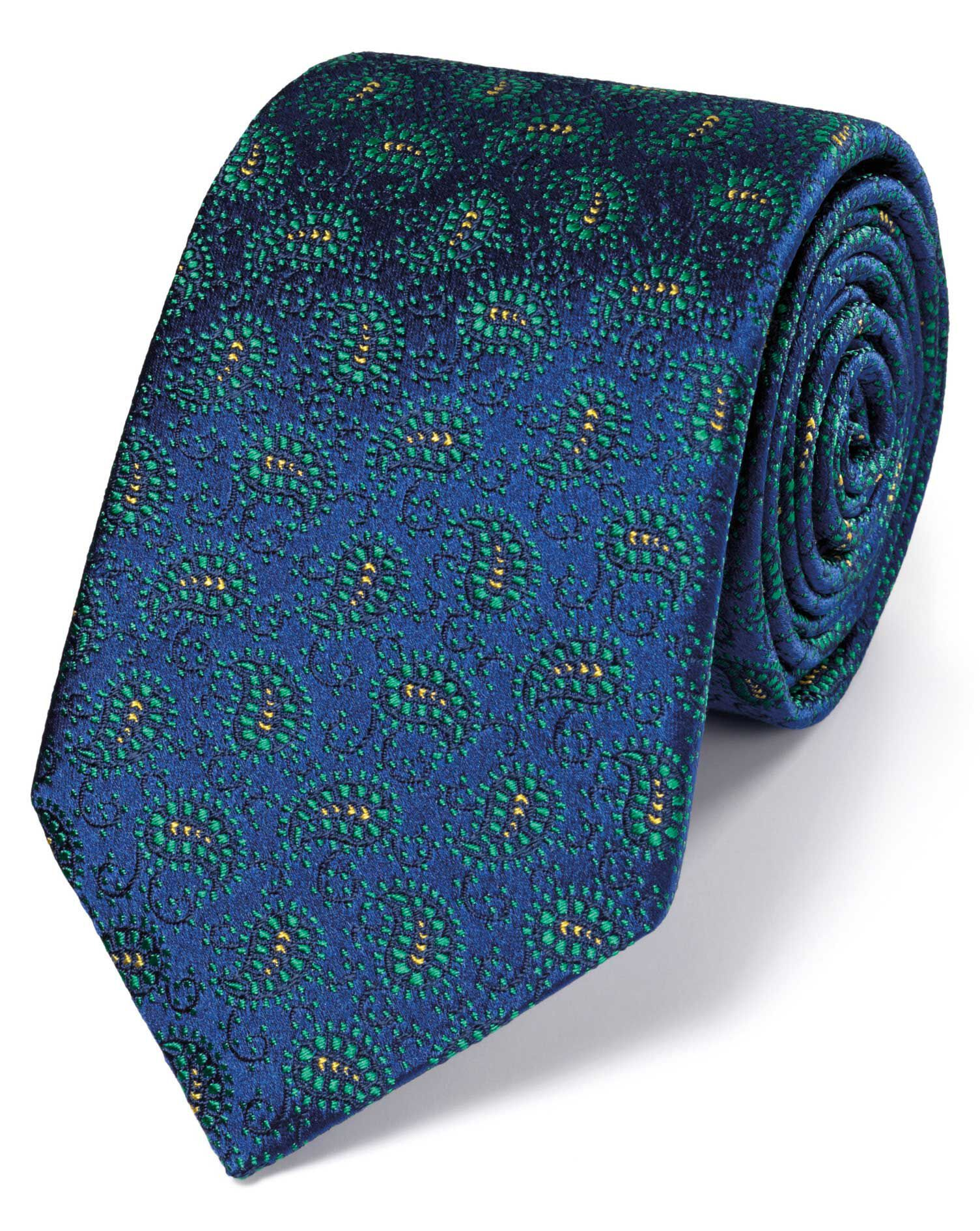 Blue and Green Silk Vintage Paisley Luxury Tie Size OSFA by Charles Tyrwhitt