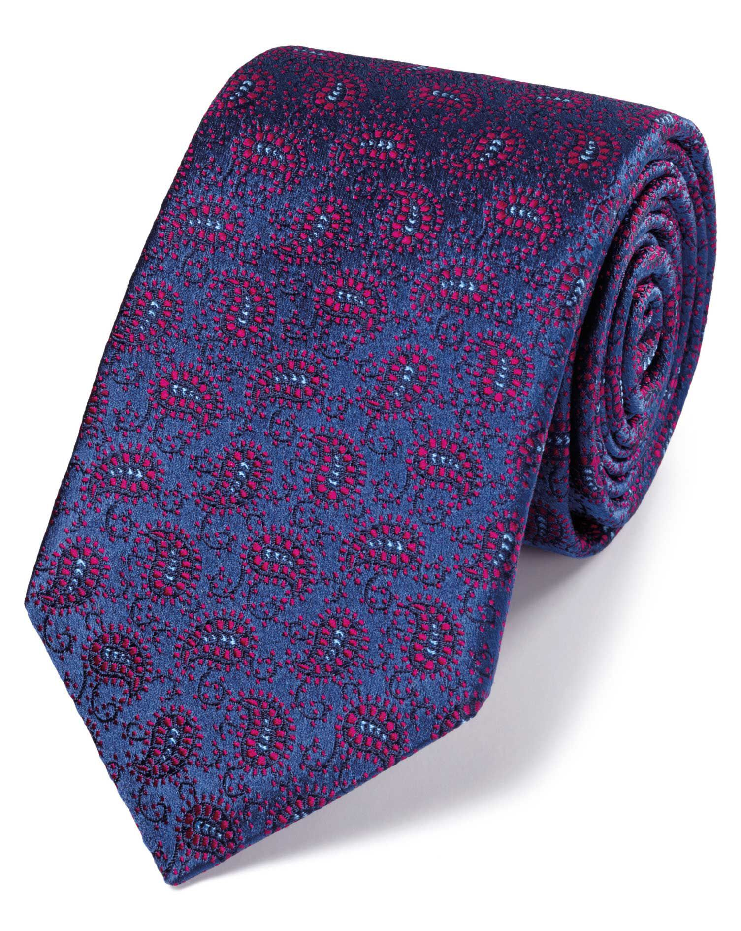 Blue and Berry Silk Vintage Paisley Luxury Tie Size OSFA by Charles Tyrwhitt