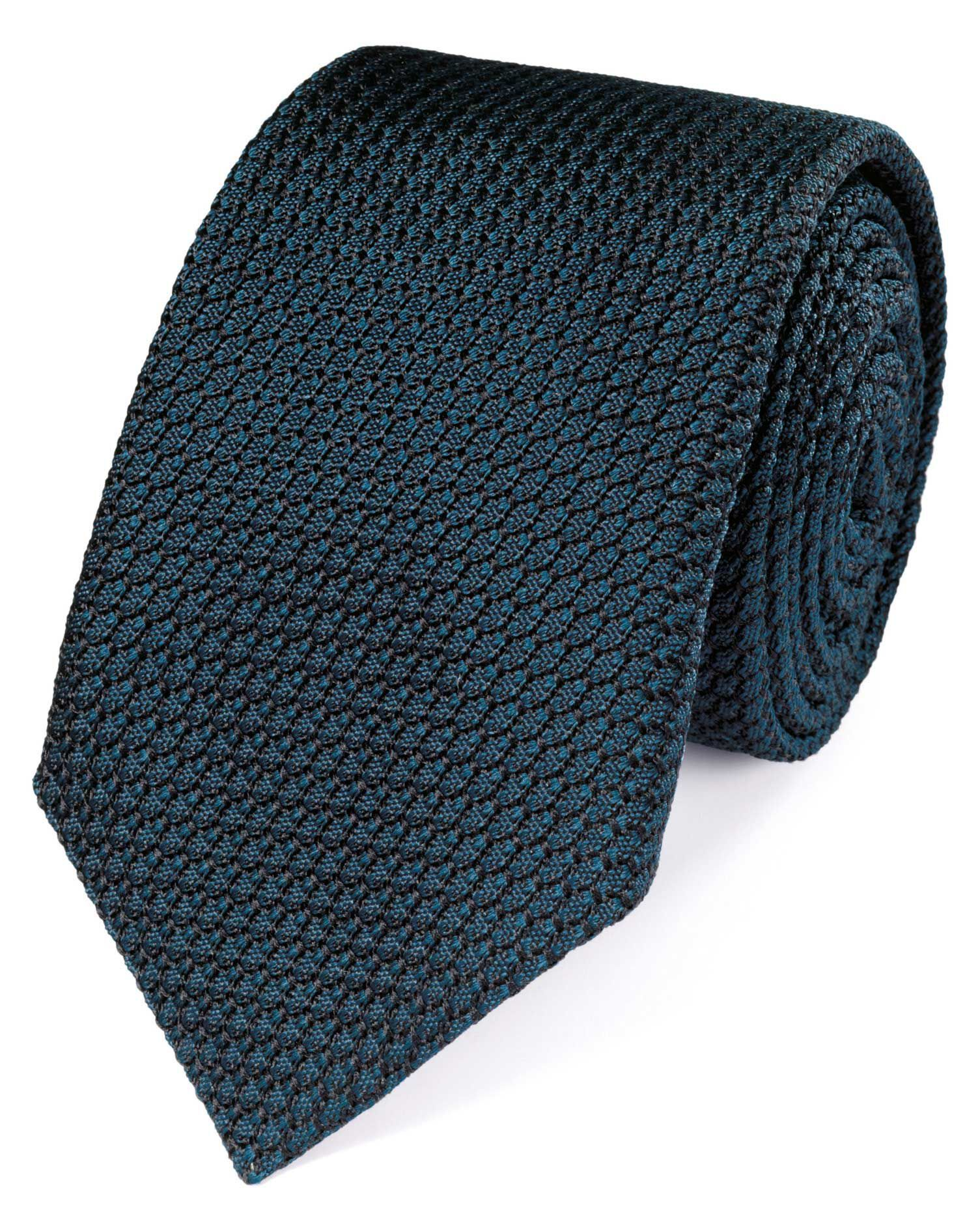 Teal Silk Plain Grenadine Luxury Tie Size OSFA by Charles Tyrwhitt