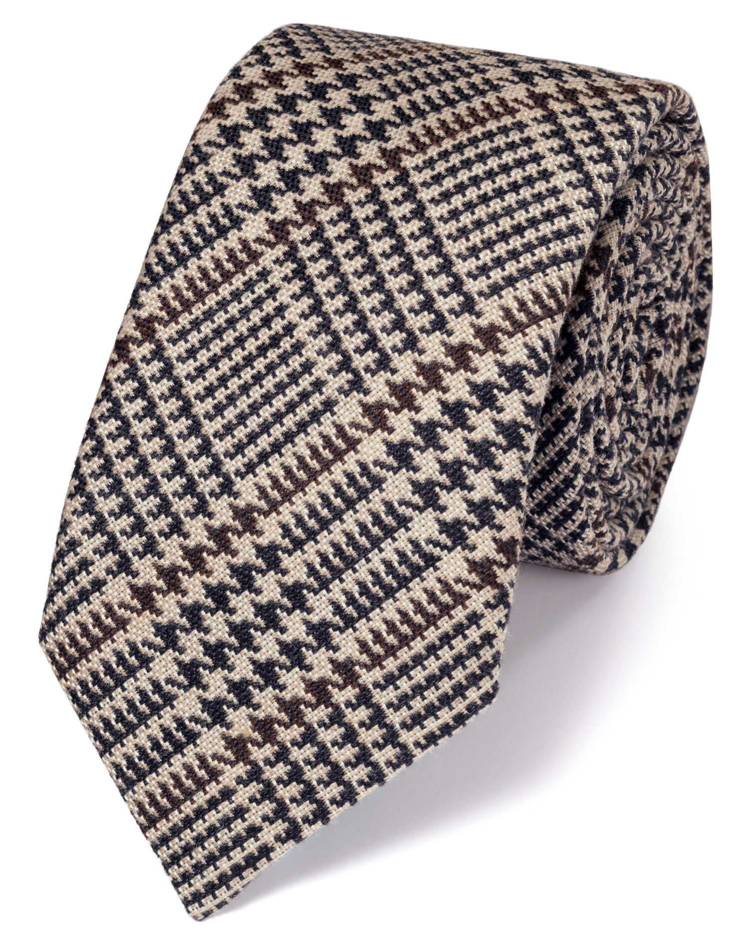 Brown Wool Mix Prince Of Wales Checkered Luxury Tie Size OSFA by Charles Tyrwhitt