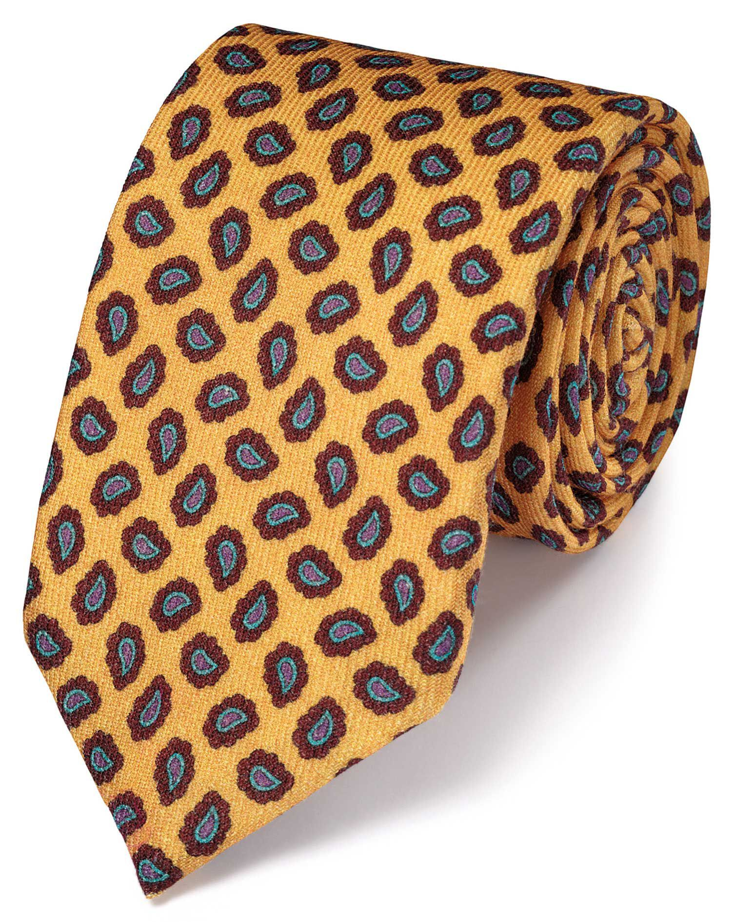 Gold Silk Print Luxury Tie Size OSFA by Charles Tyrwhitt