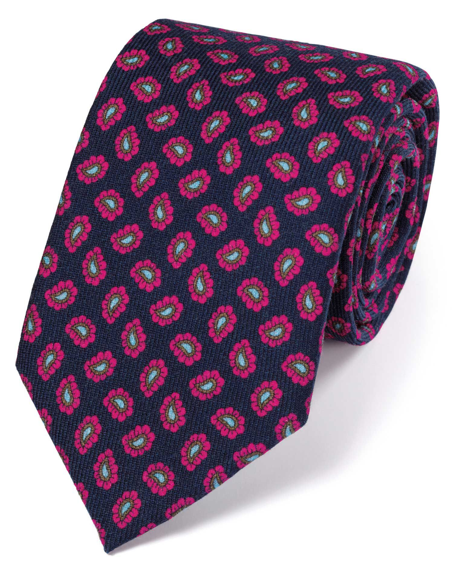 Navy and Pink Silk Print Luxury Tie Size OSFA by Charles Tyrwhitt