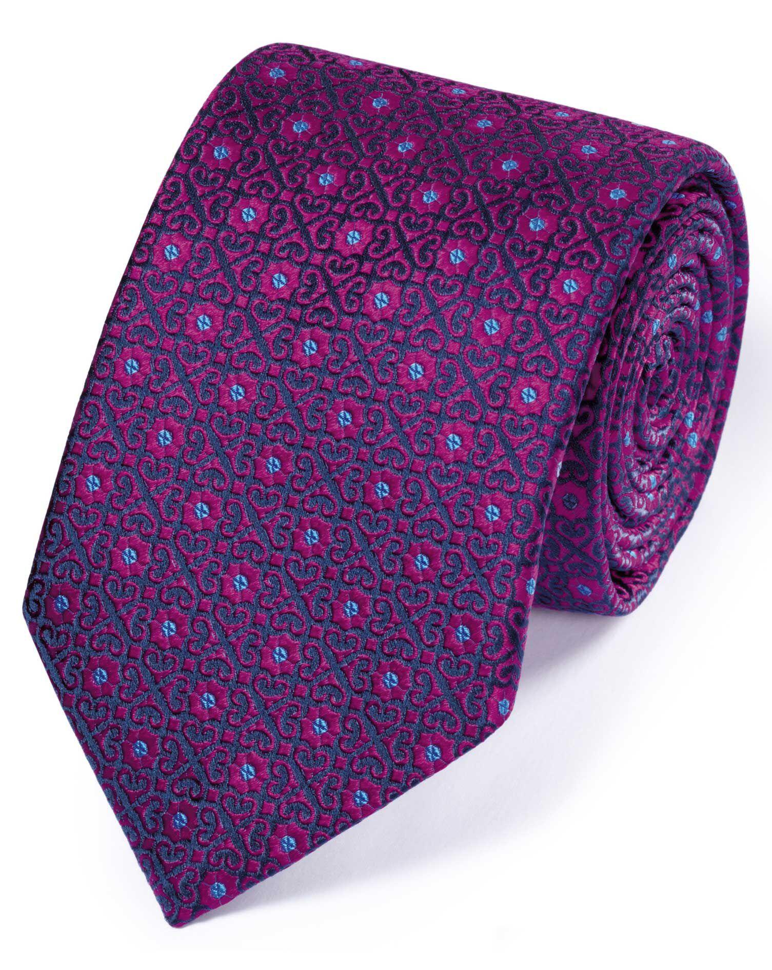 Magenta Silk English Luxury Geometric Tie Size OSFA by Charles Tyrwhitt