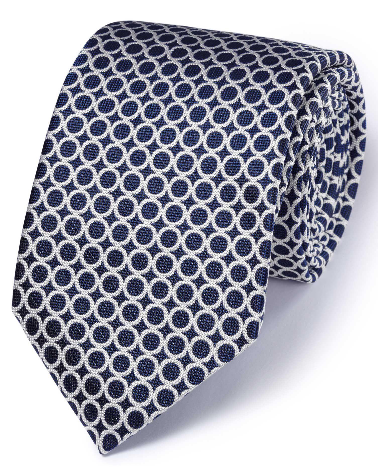 Navy & White Silk English Luxury End-On-End Tie Size OSFA by Charles Tyrwhitt