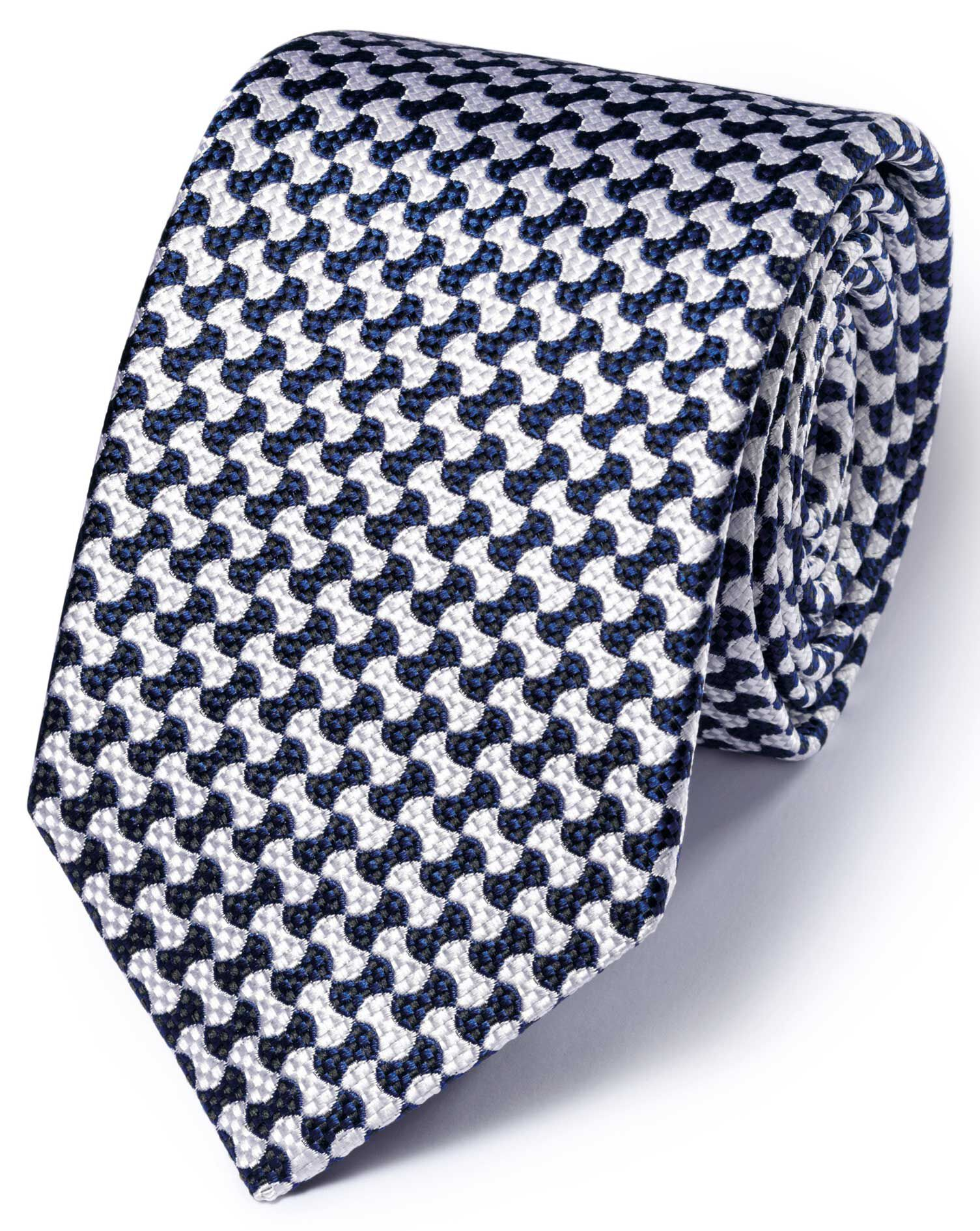 White and Royal Silk English Luxury End-On-End Tie Size OSFA by Charles Tyrwhitt