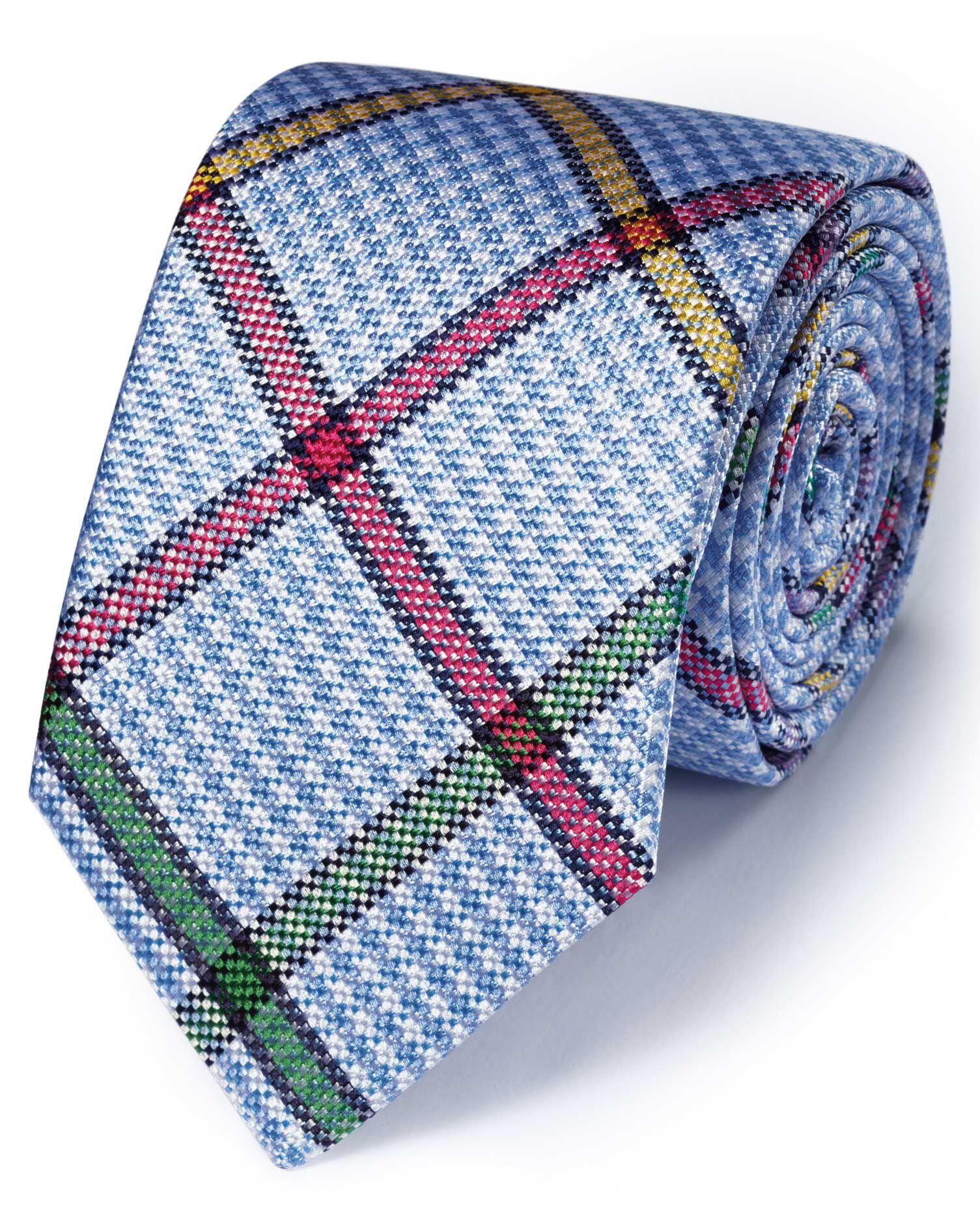 Sky Multi Silk Multi Checkered English Luxury Tie Size OSFA by Charles Tyrwhitt