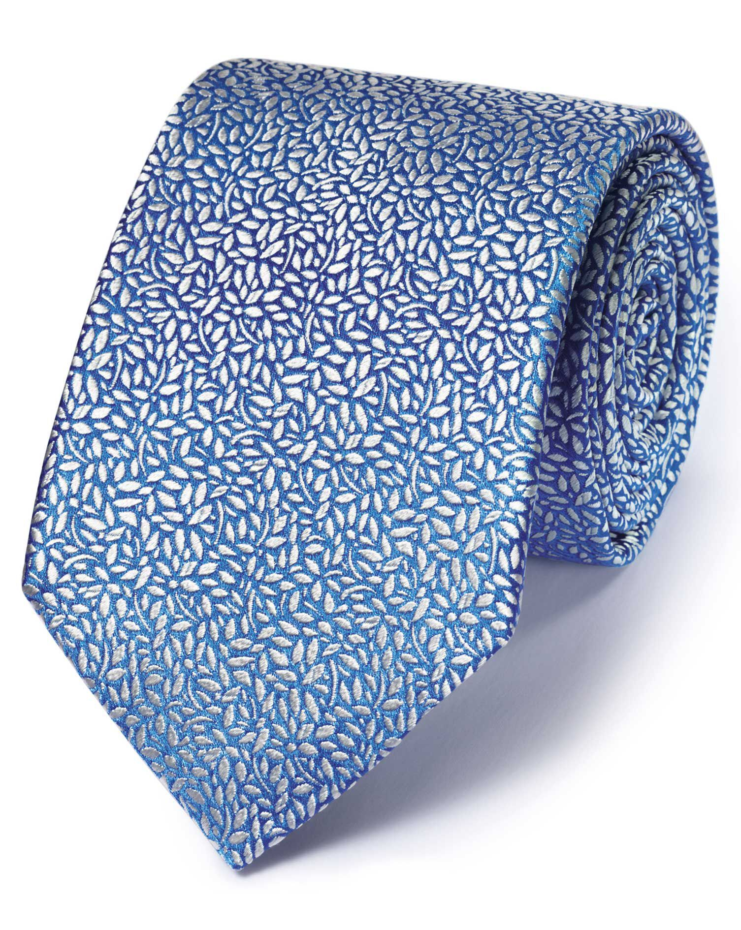 Light Blue Silk English Luxury Floral Leaf Tie Size OSFA by Charles Tyrwhitt